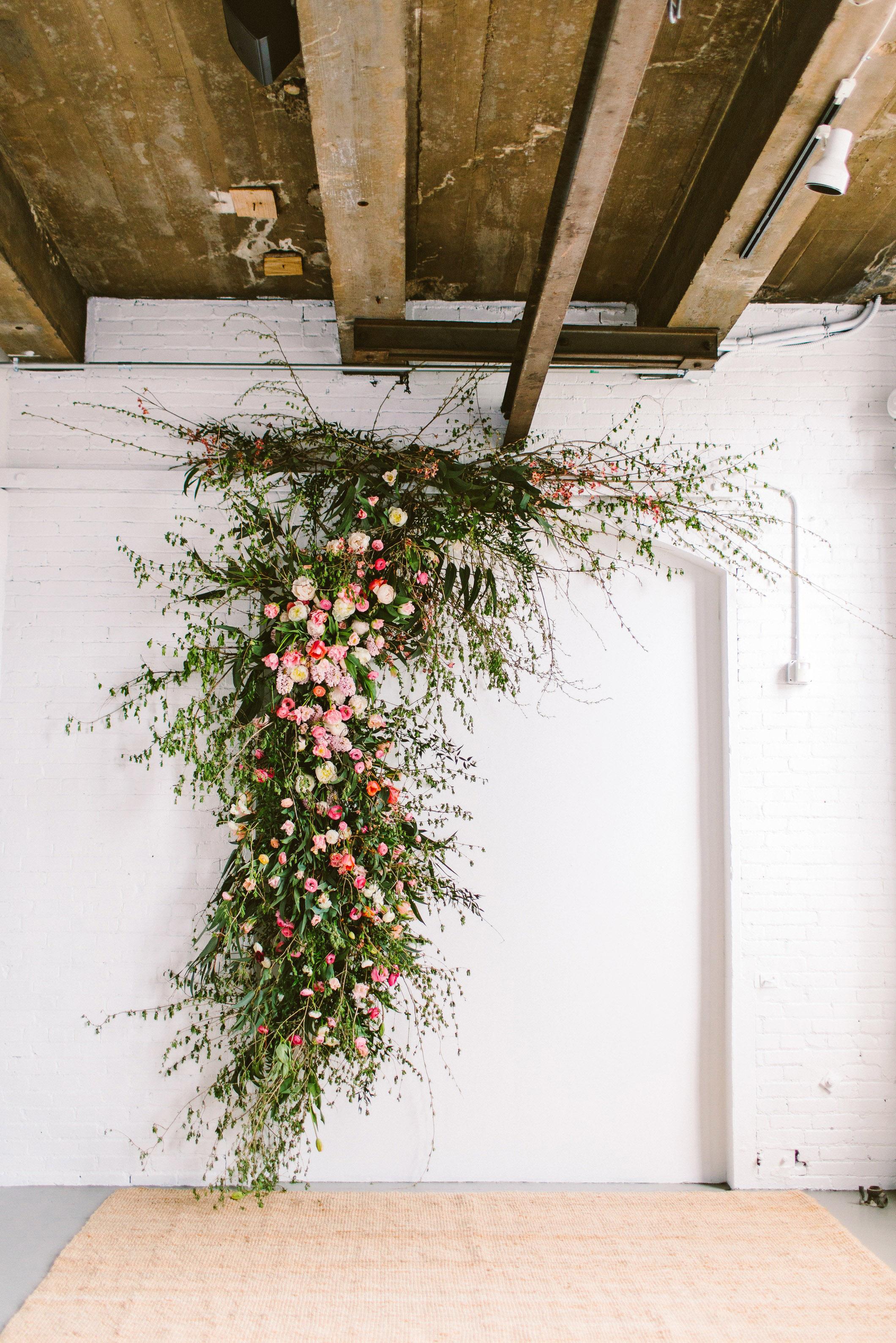 sara ryan wedding philadelphia floral installation