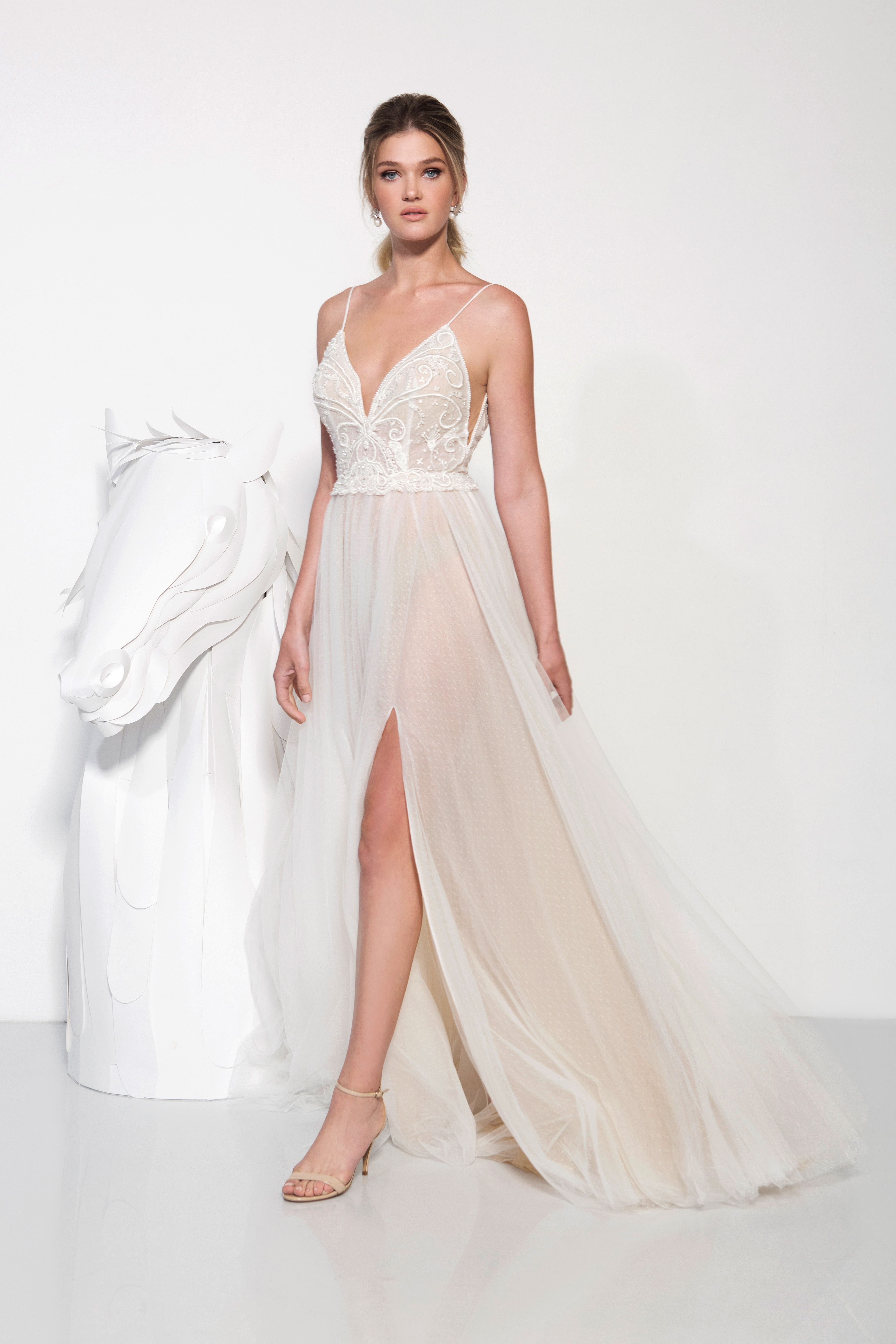 lavish by yaniv persy wedding dress spring 2019 spaghetti straps a-line deep v