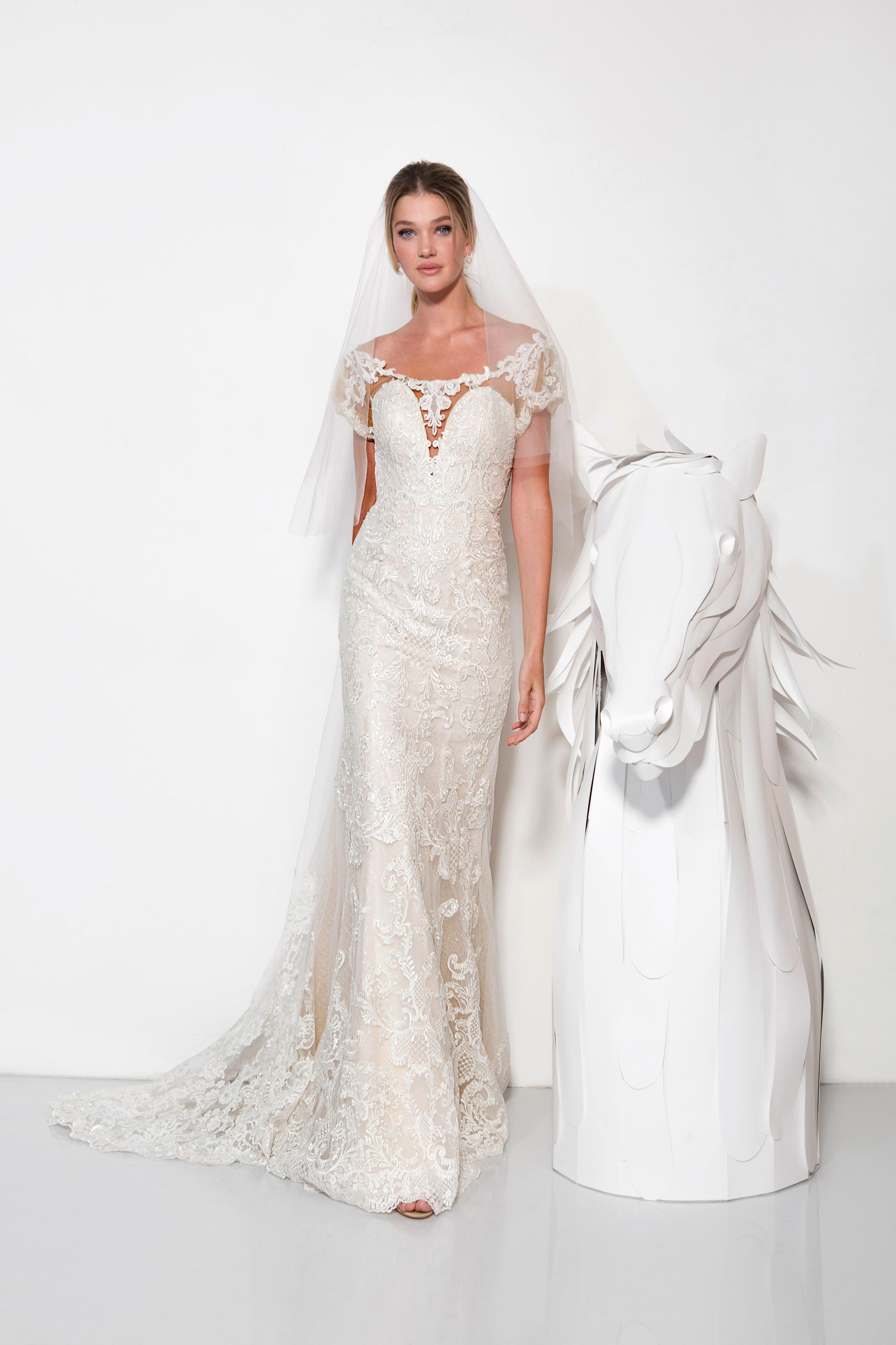 lavish by yaniv persy wedding dress spring 2019 wide neck short sleeves lace