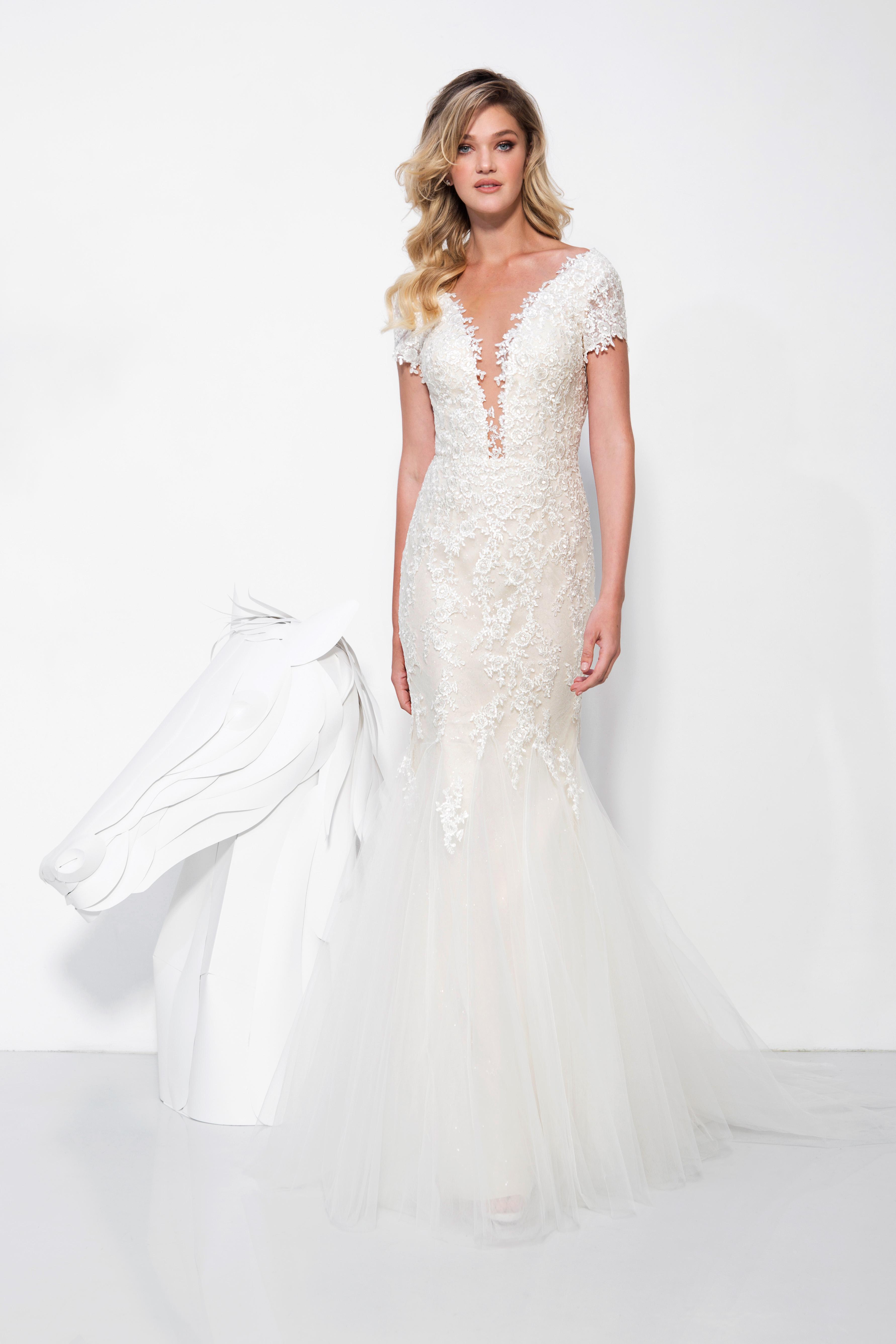 lavish by yaniv persy wedding dress spring 2019 short sleeves lace trumpet