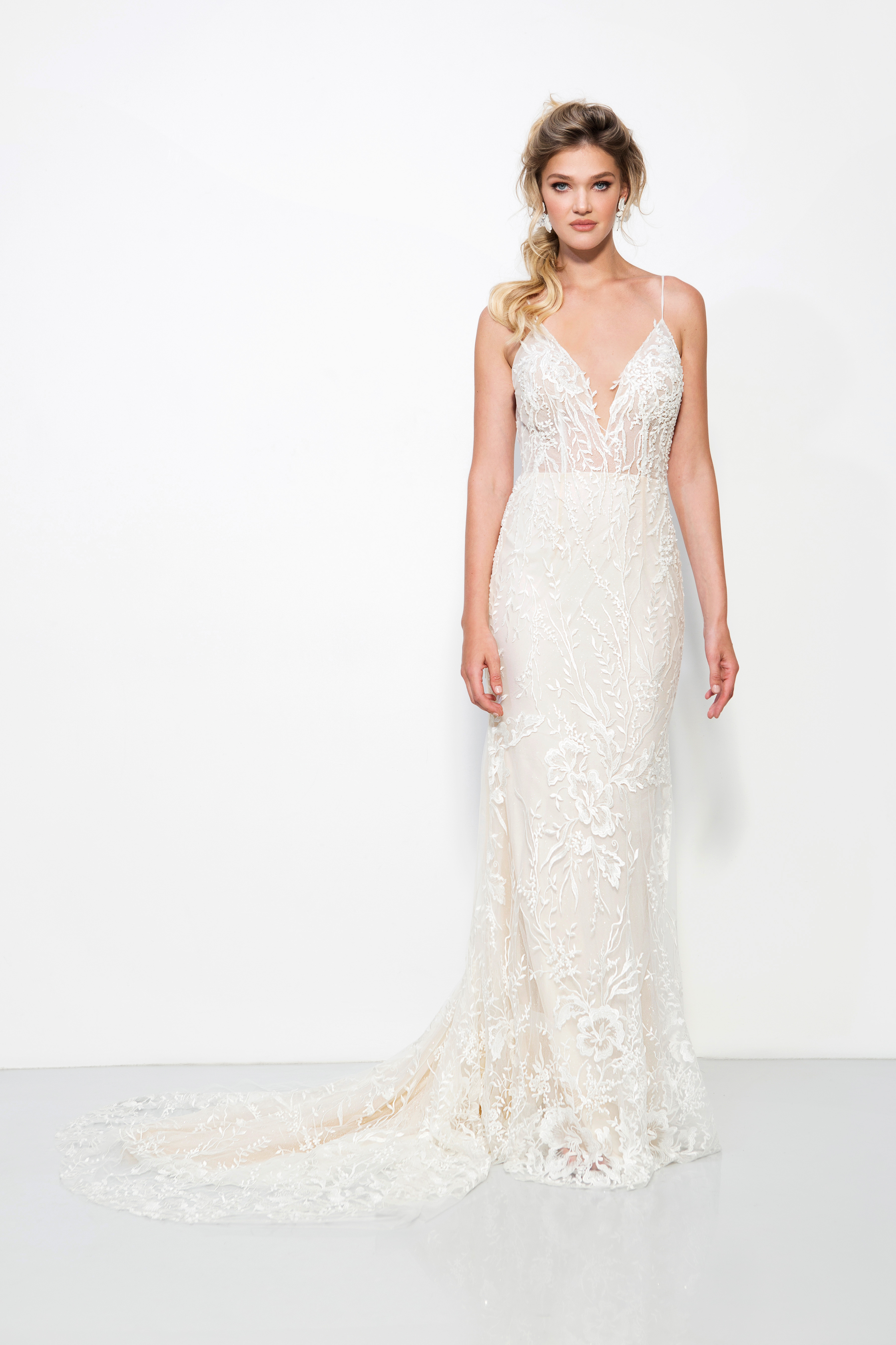 lavish by yaniv persy wedding dress spring 2019 lace spaghetti strap deep v