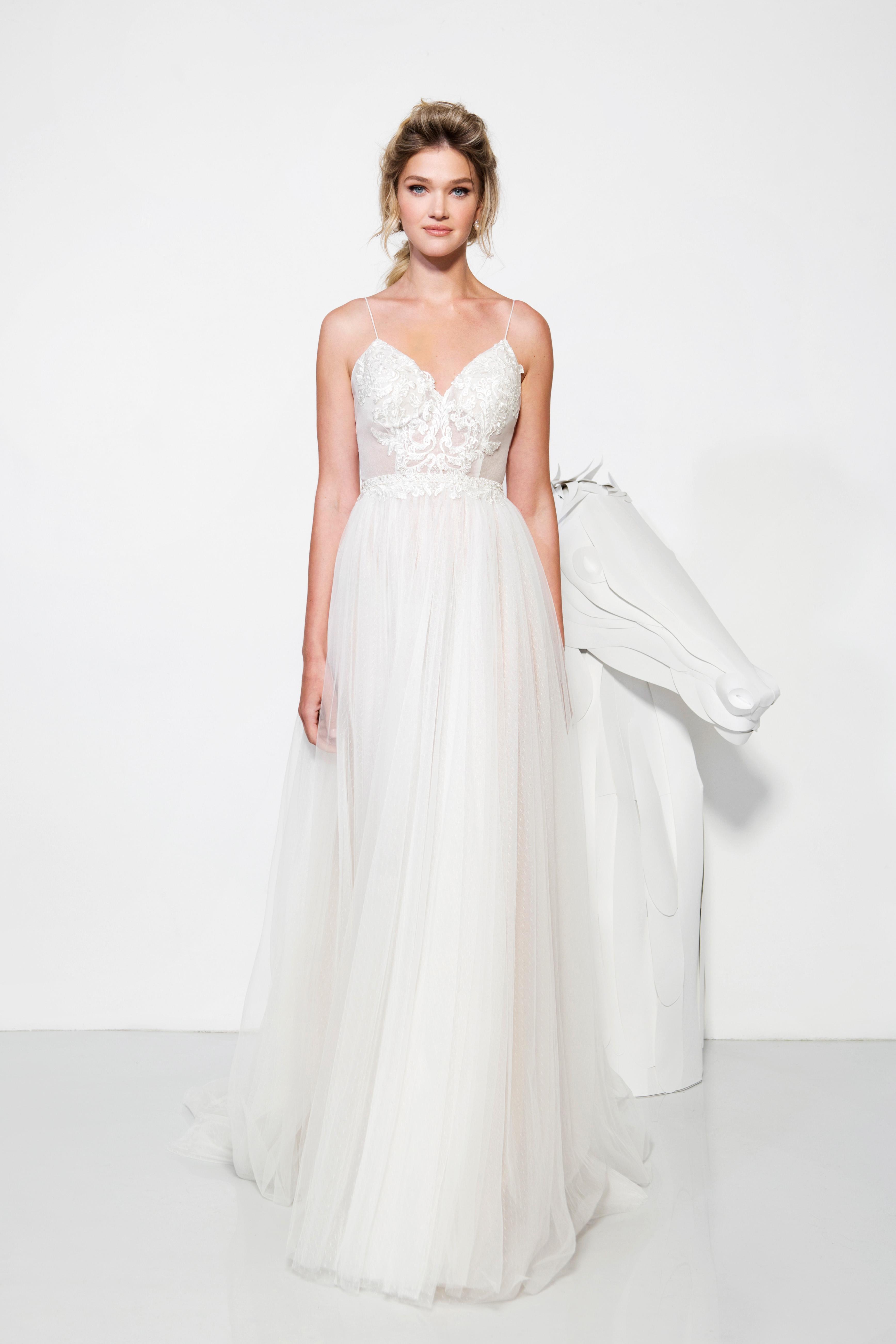 lavish by yaniv persy wedding dress spring 2019 spaghetti straps a-line tulle