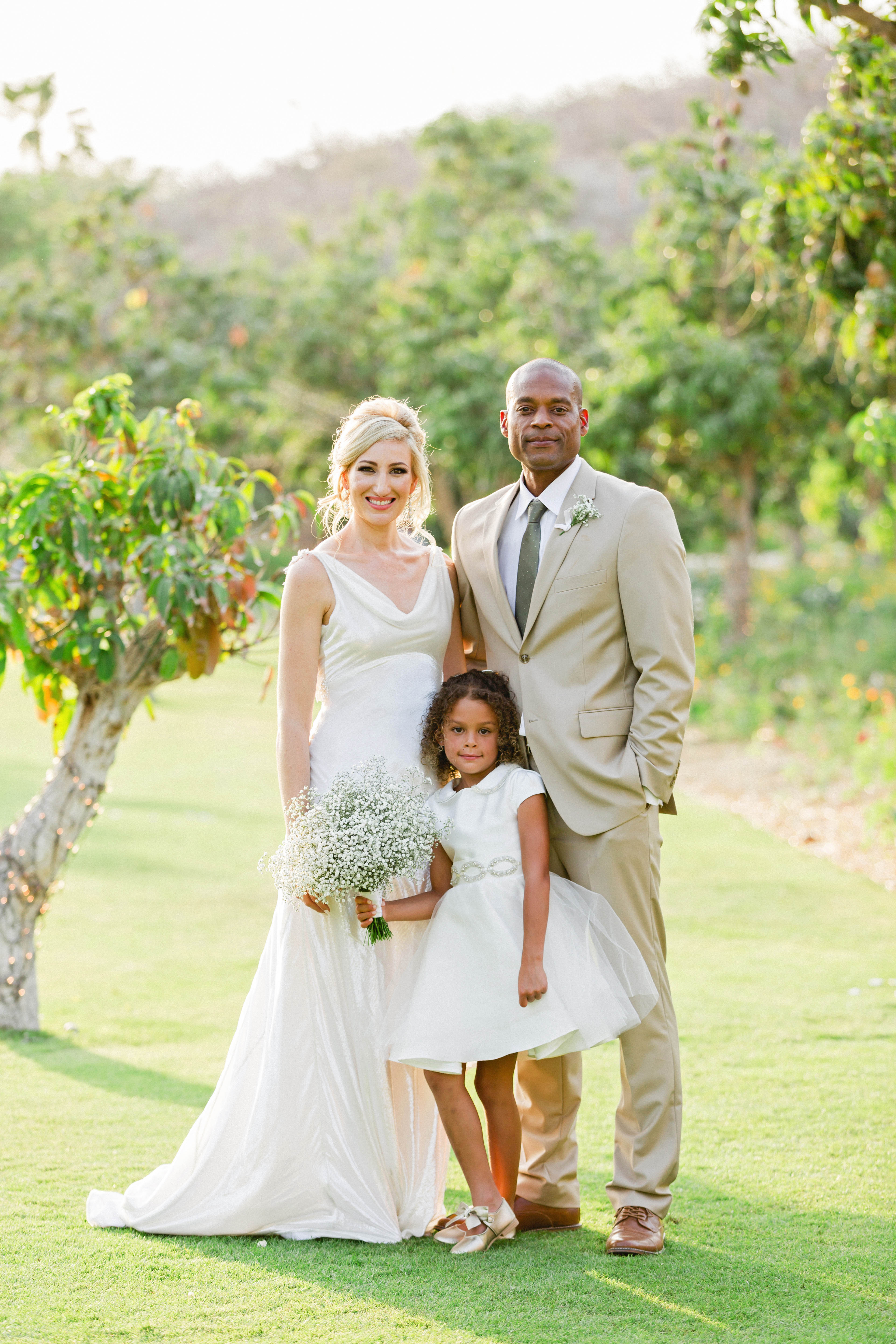 brittany craig wedding couple and flower girl