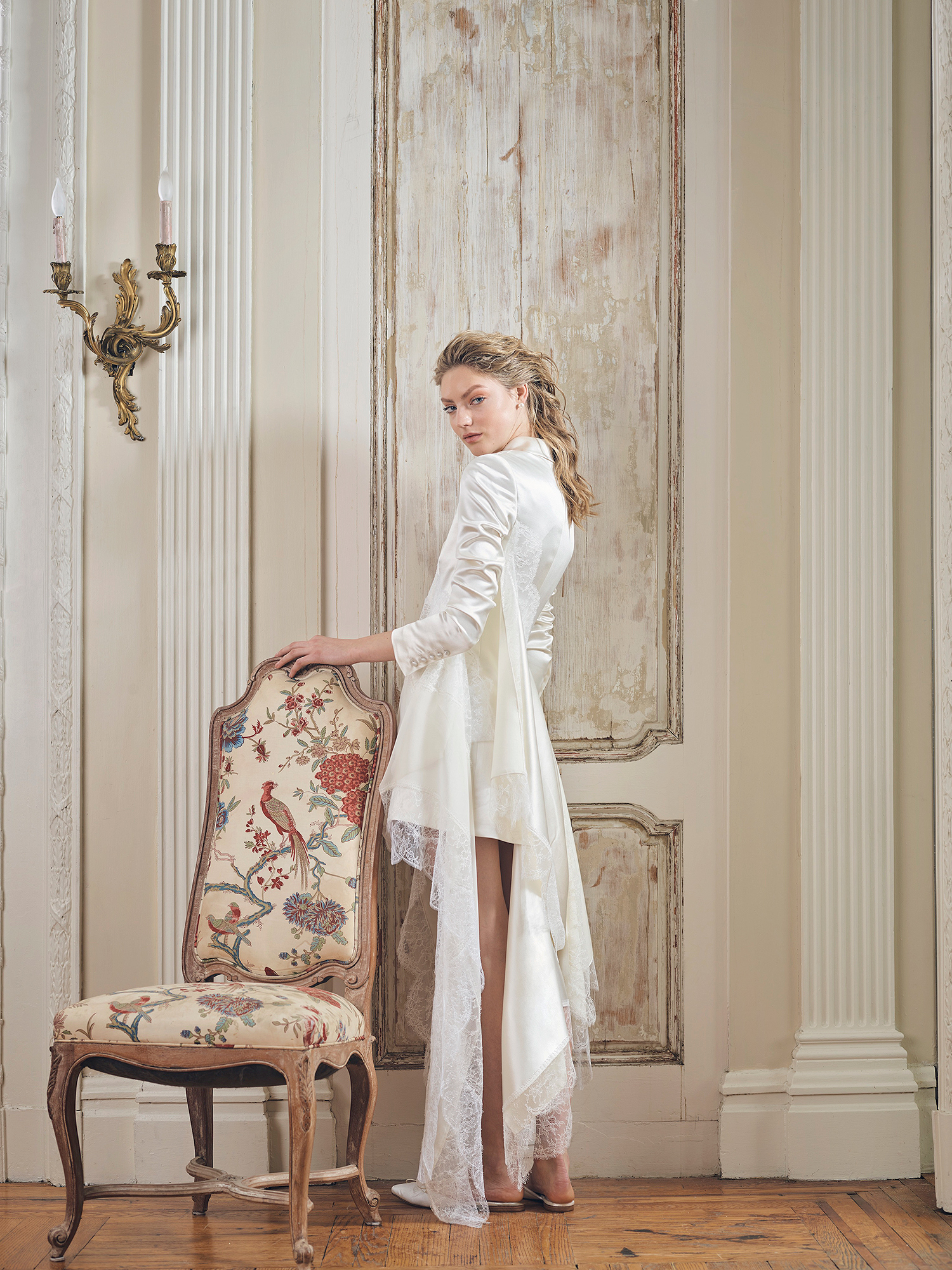 danielle frankel wedding dress spring 2019 short with collar and panels