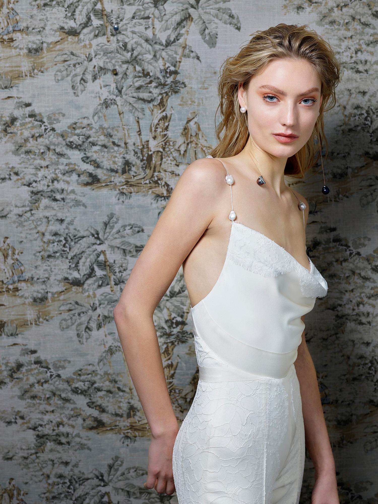 danielle frankel wedding dress spring 2019 draped bust beaded spaghetti straps