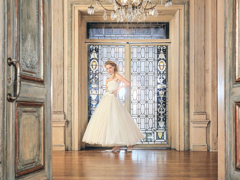danielle frankel wedding dress spring 2019 ankle-length belted ball gown