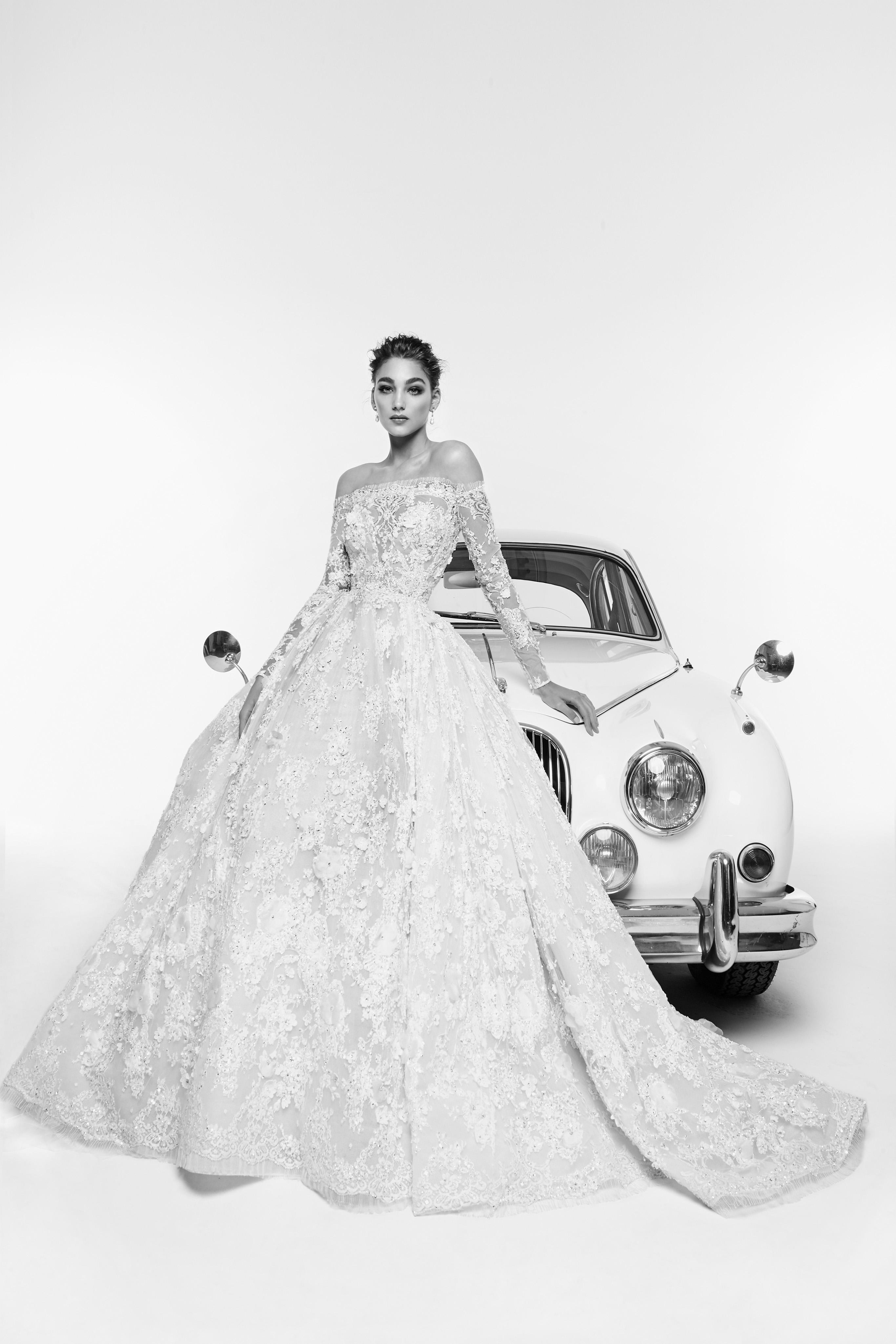 zuhair murad wedding dress spring 2019 off-the-shoulder ball gown