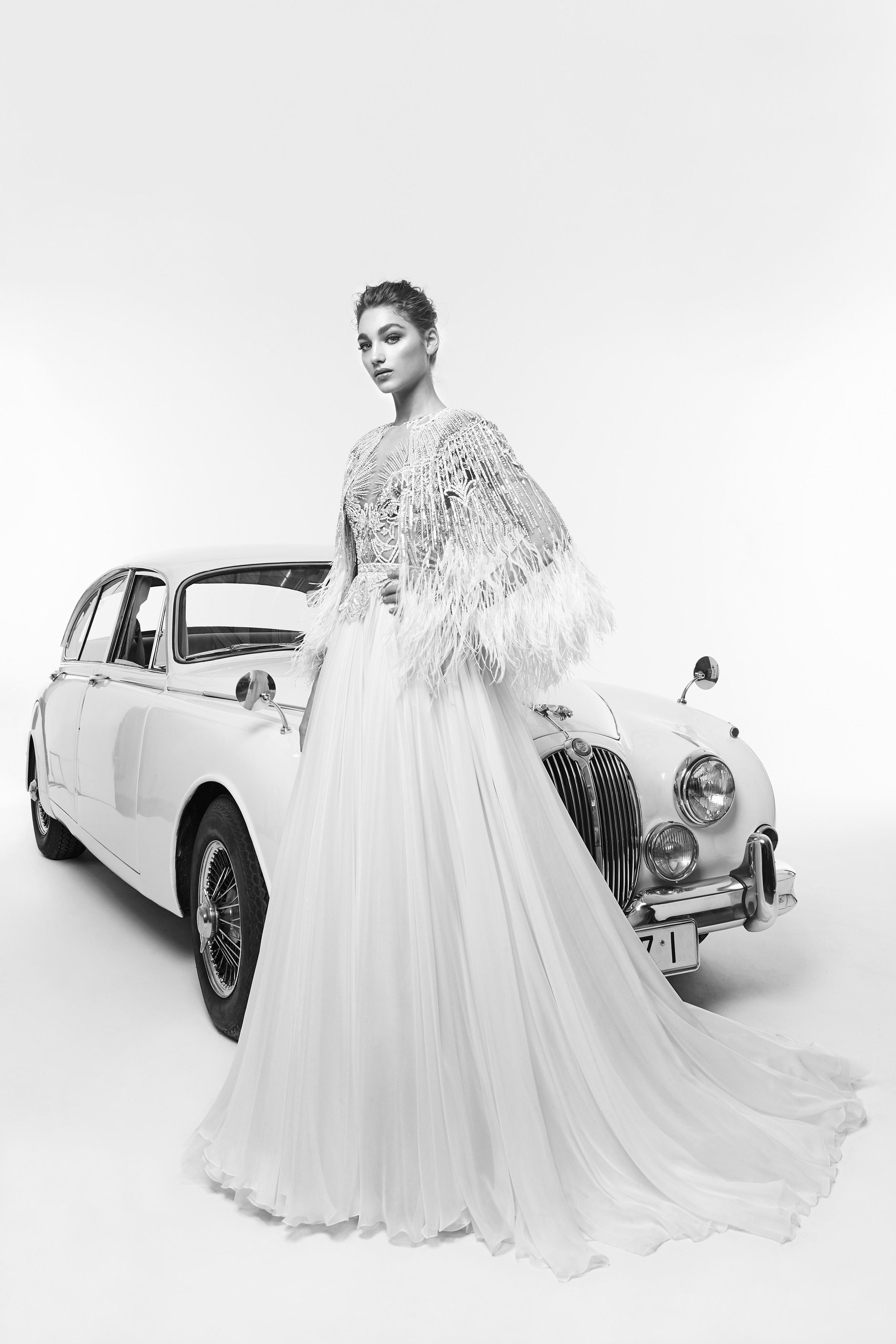 zuhair murad wedding dress spring 2019 feather wrap a-line