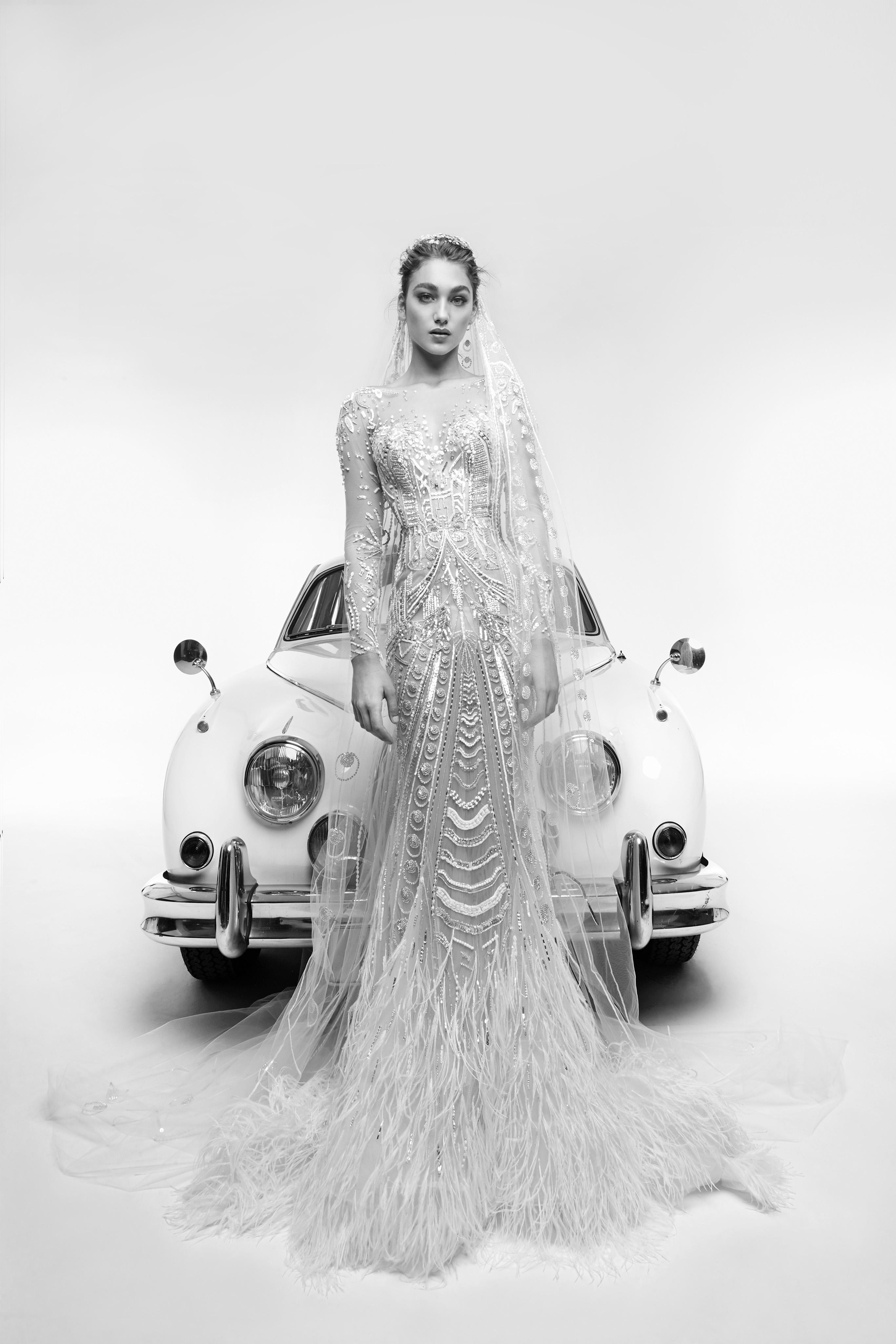zuhair murad wedding dress spring 2019 feather mermaid