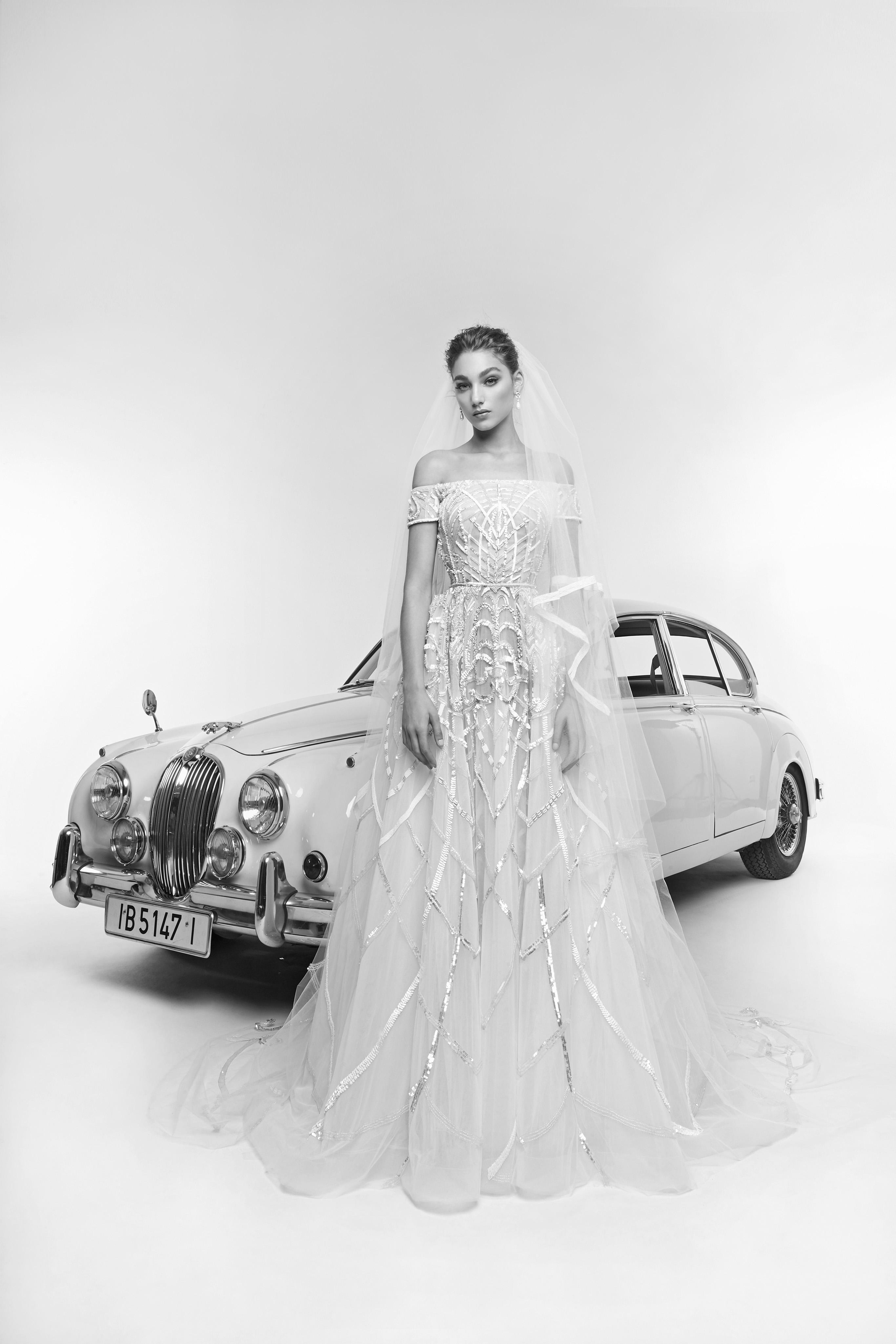 zuhair murad wedding dress spring 2019 off-the-shoulder ball gown with veil