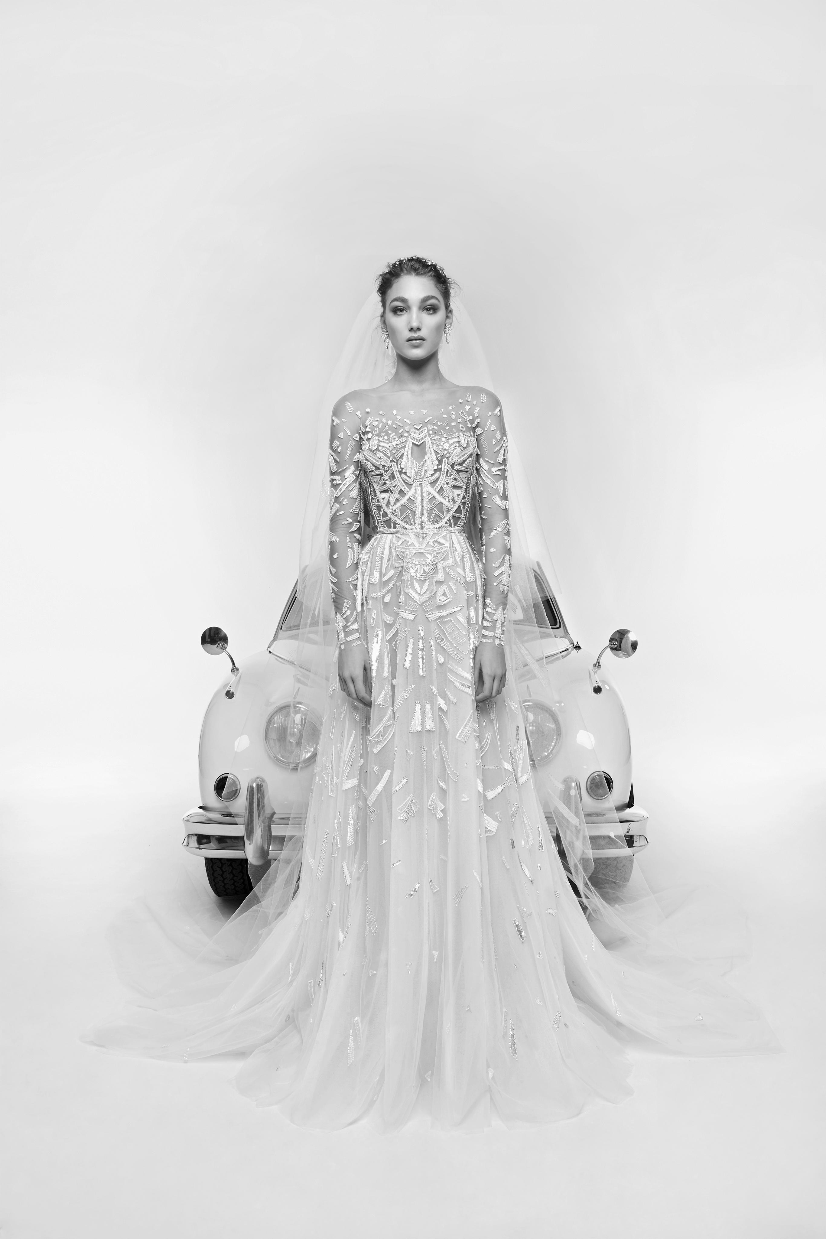 zuhair murad wedding dress spring 2019 long sleeves illusion
