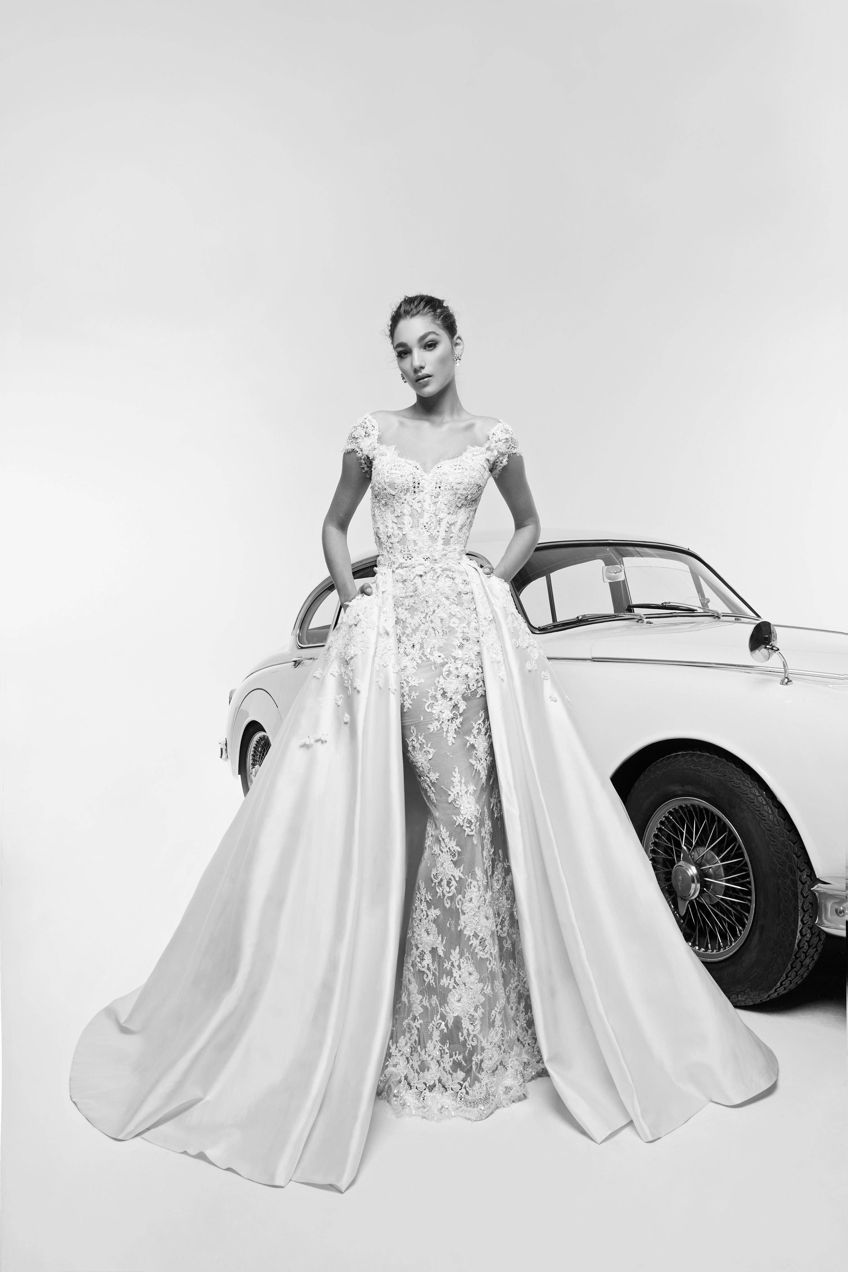 zuhair murad wedding dress spring 2019 cap sleeve mermaid with train