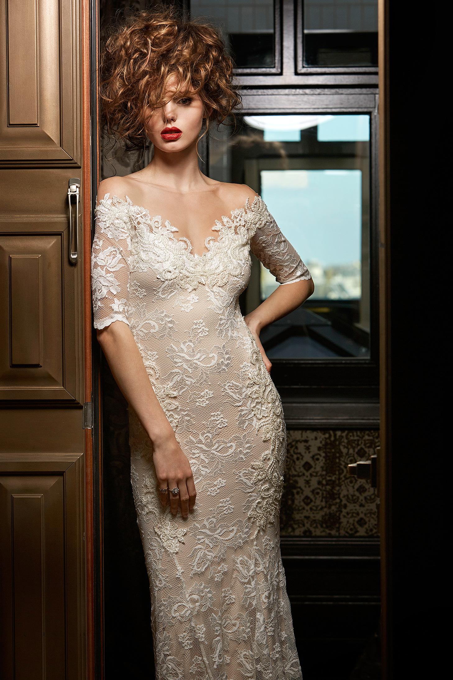 olvi wedding dress spring 2019 off-the-shoulder short-sleeved v-neck