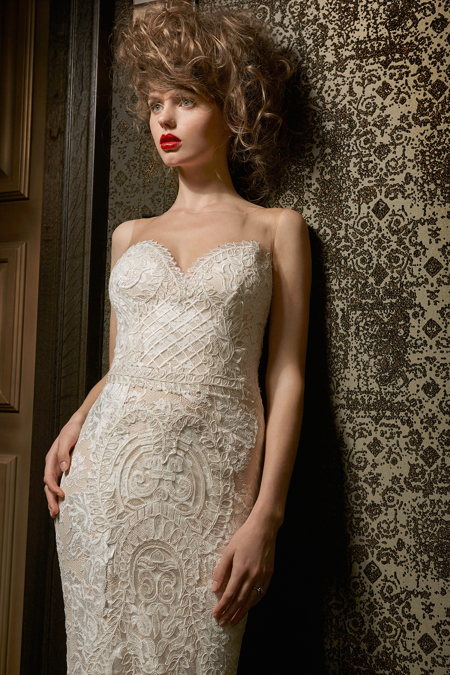 olvi wedding dress spring 2019 sweetheart illusion neck embroidery