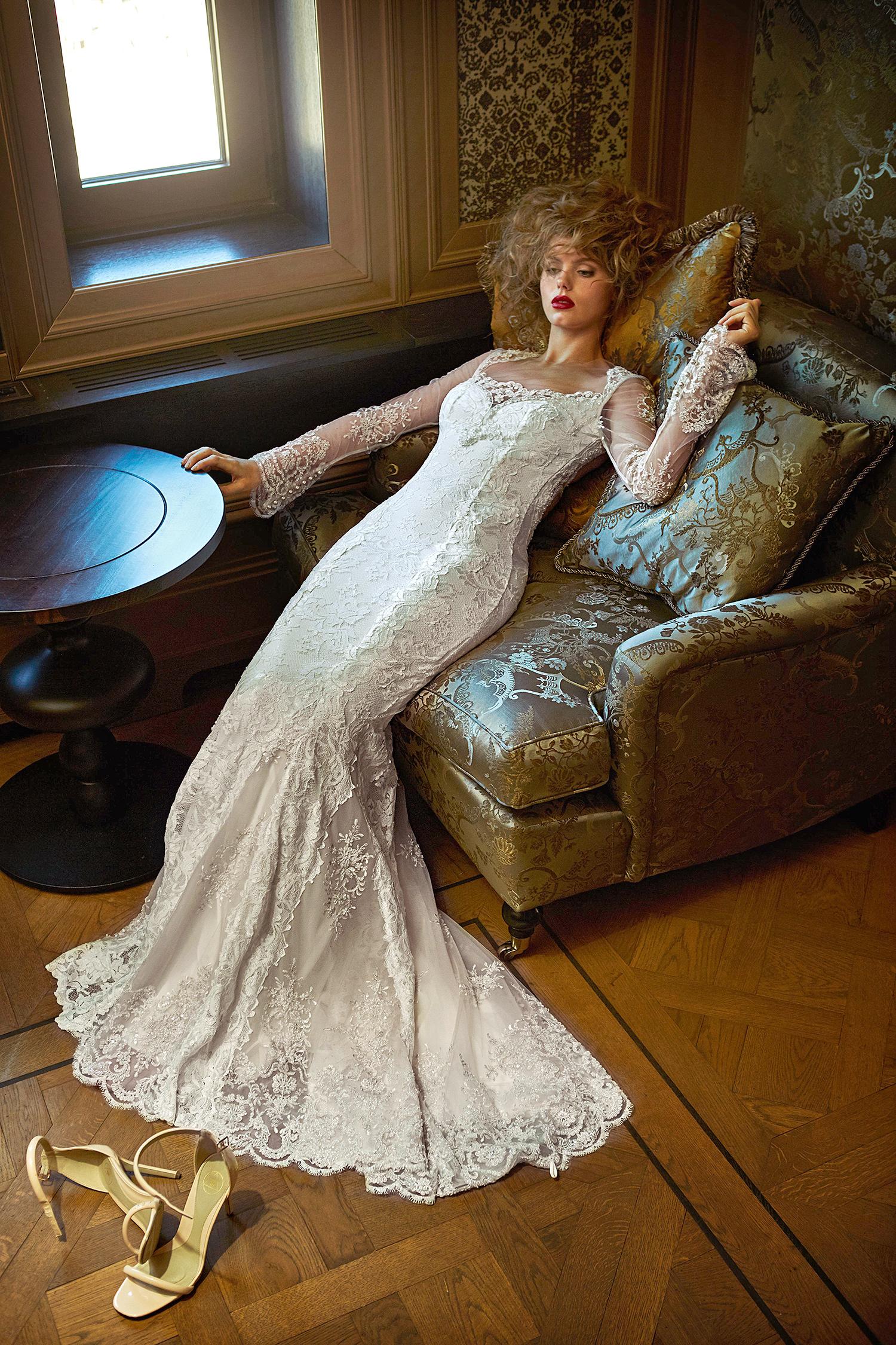 olvi wedding dress spring 2019 long-sleeved lace trumpet