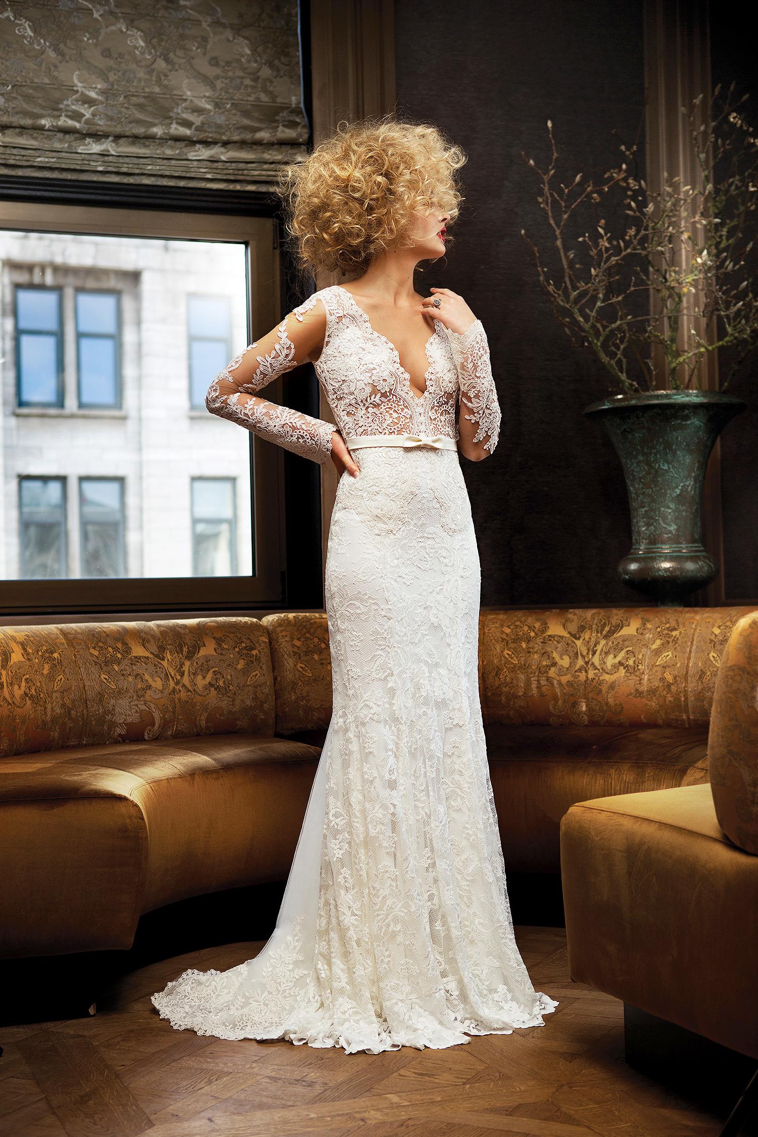 olvi wedding dress spring 2019 v-neck belted lace