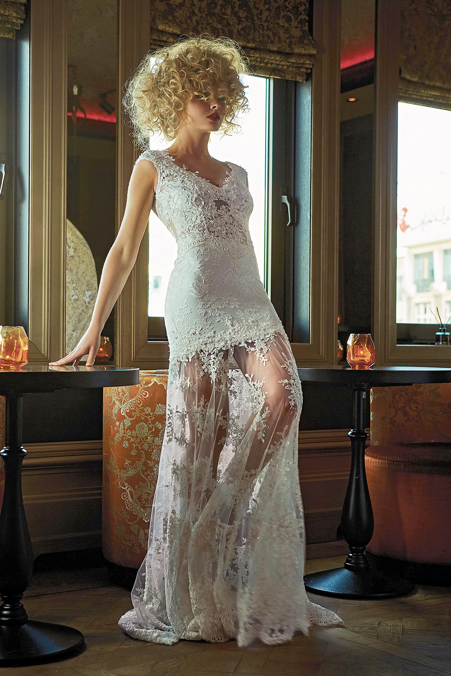 olvi wedding dress spring 2019 v-neck sheath with sheer skirt