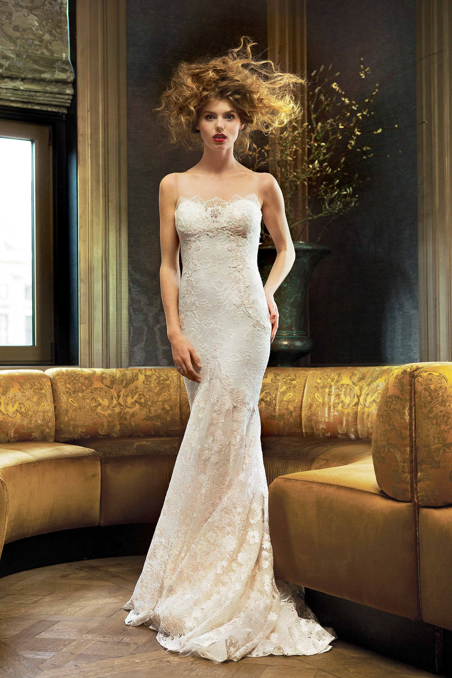 olvi wedding dress spring 2019 illusion neck lace detailed bust