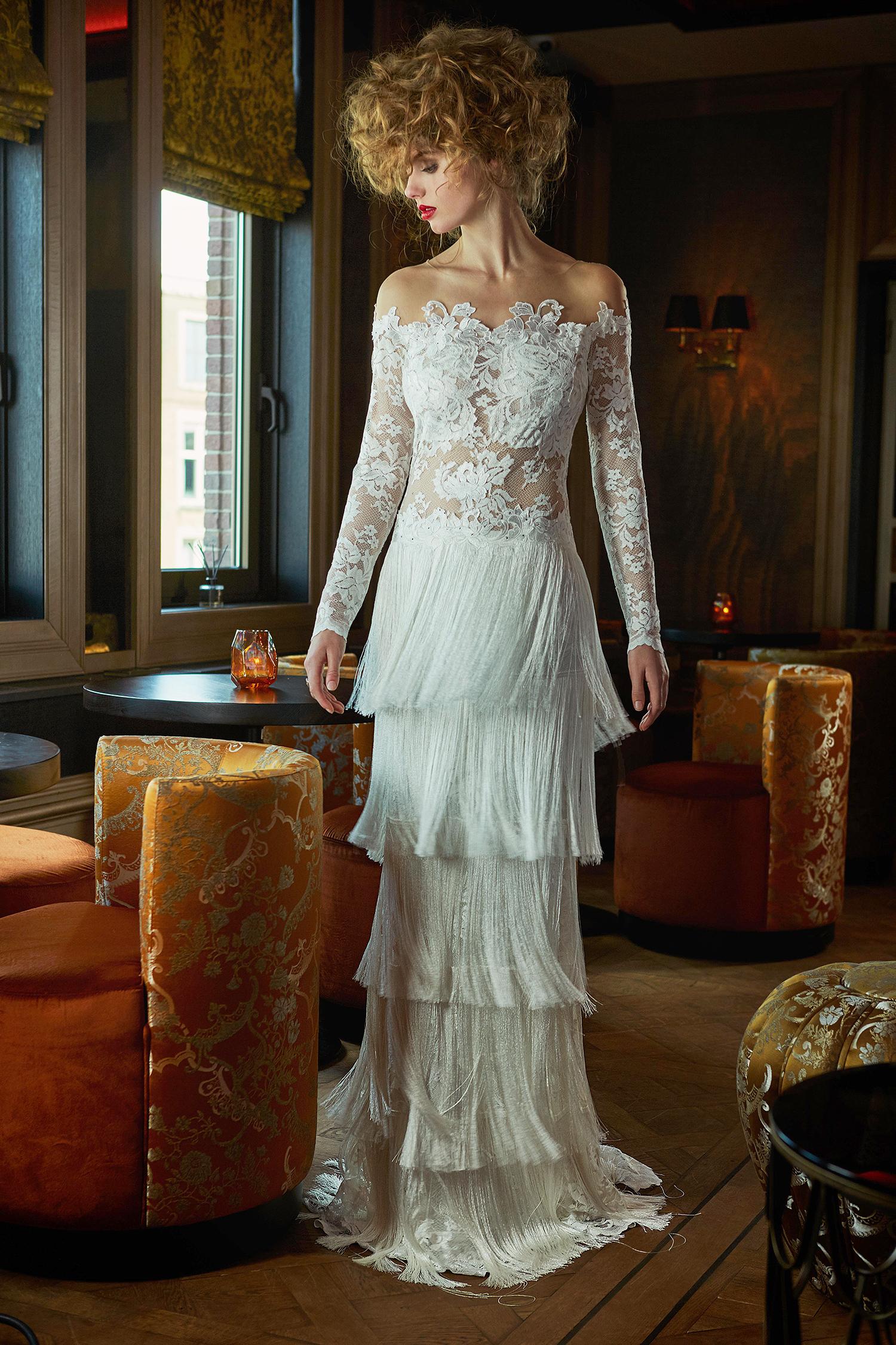 olvi wedding dress spring 2019 off-the-shoulder long sleeves fringed skirt