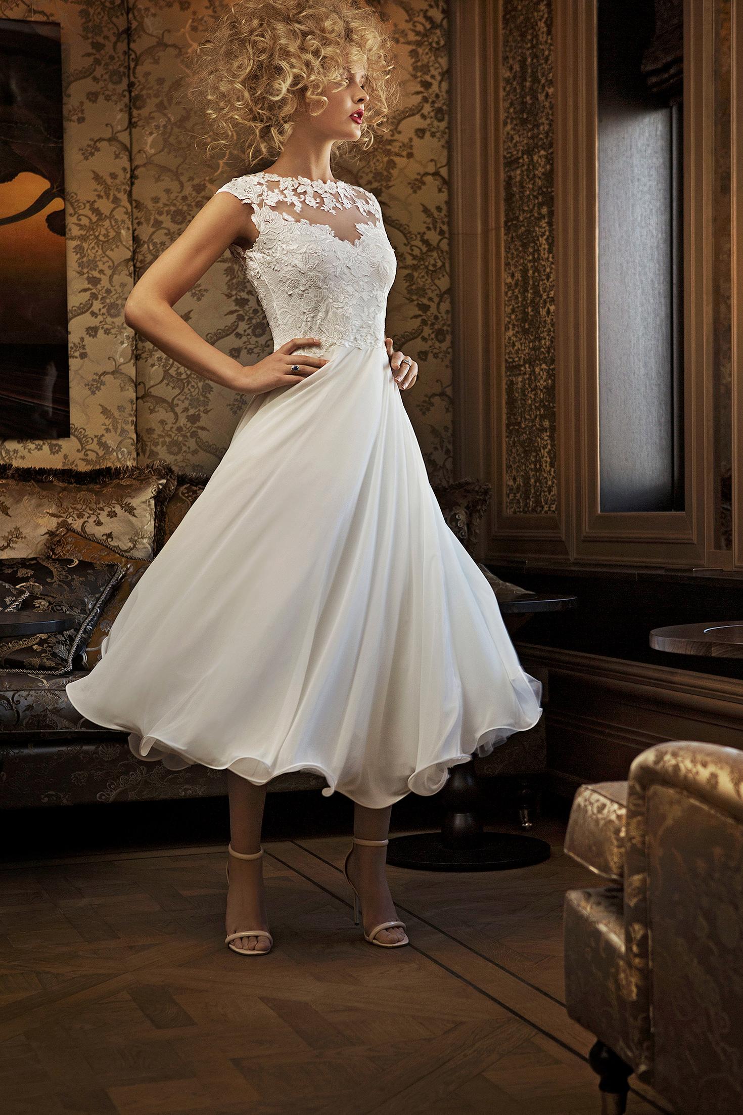 olvi wedding dress spring 2019 tea-length cap sleeves high neck