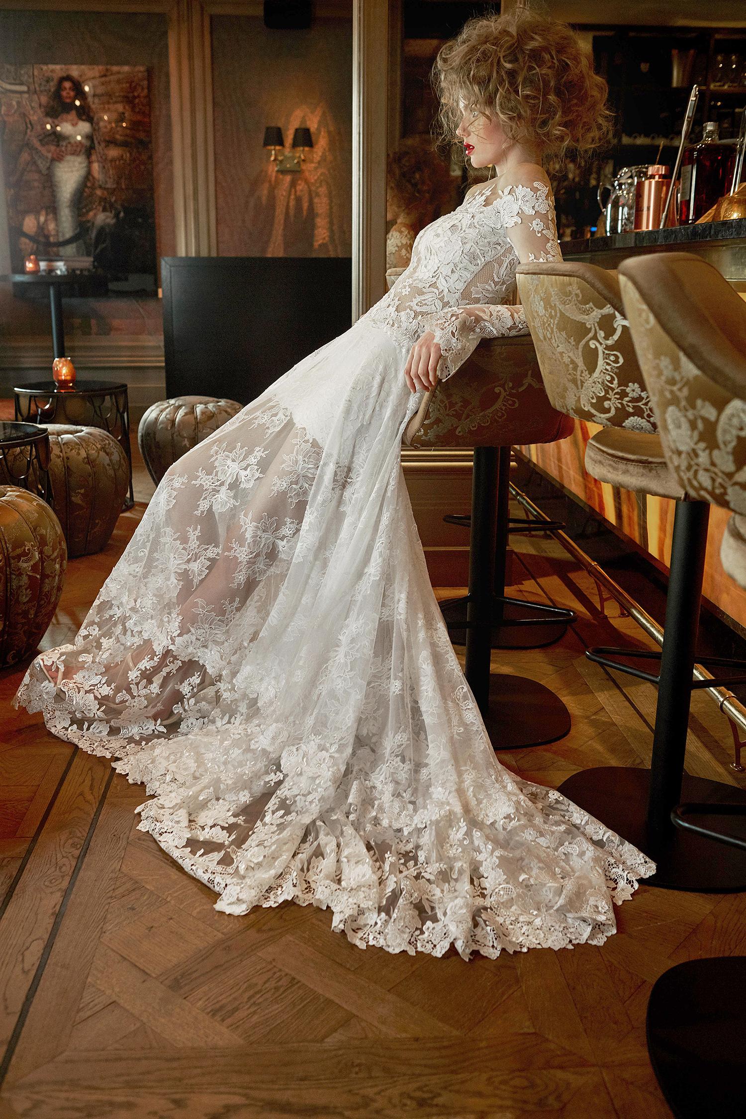 olvi wedding dress spring 2019 lace overlay flared sleeves