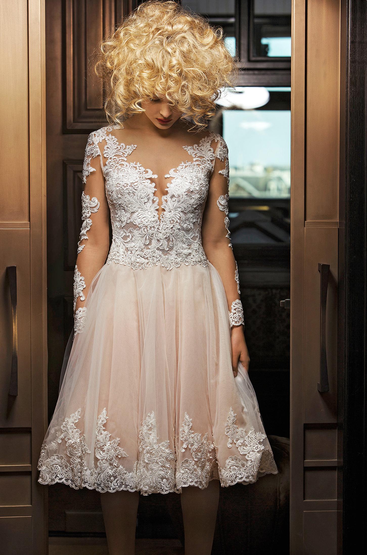 olvi wedding dress spring 2019 lace bodice tea-length