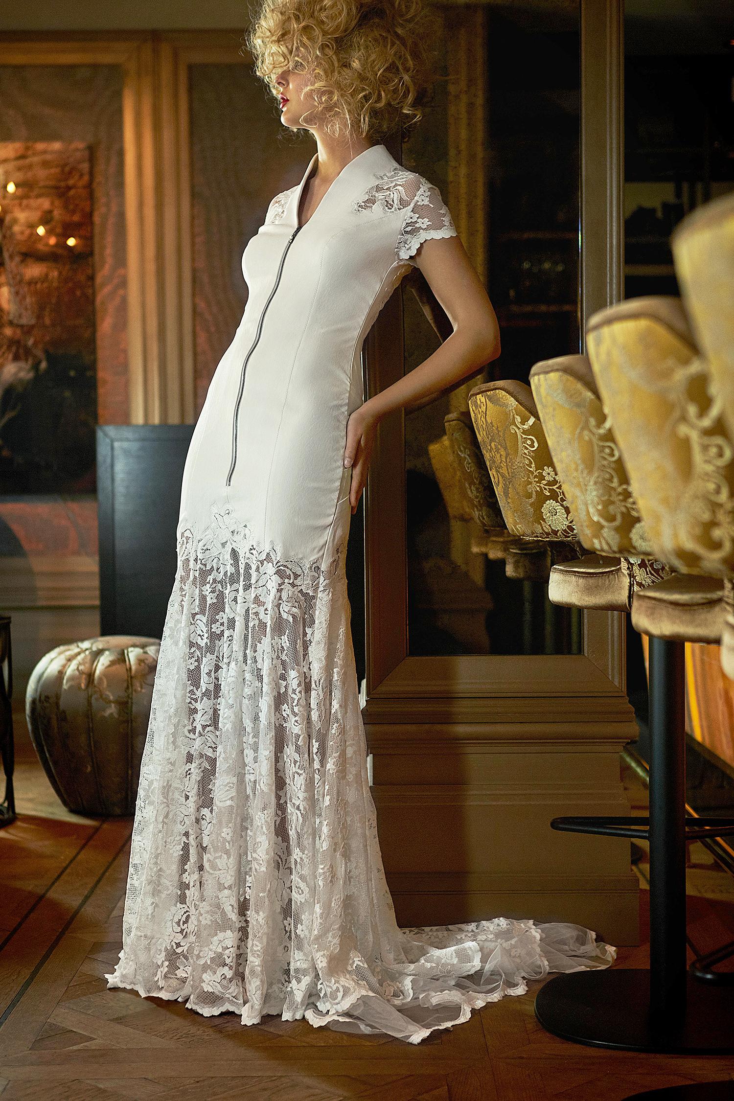 olvi wedding dress spring 2019 short-sleeved with zip detail