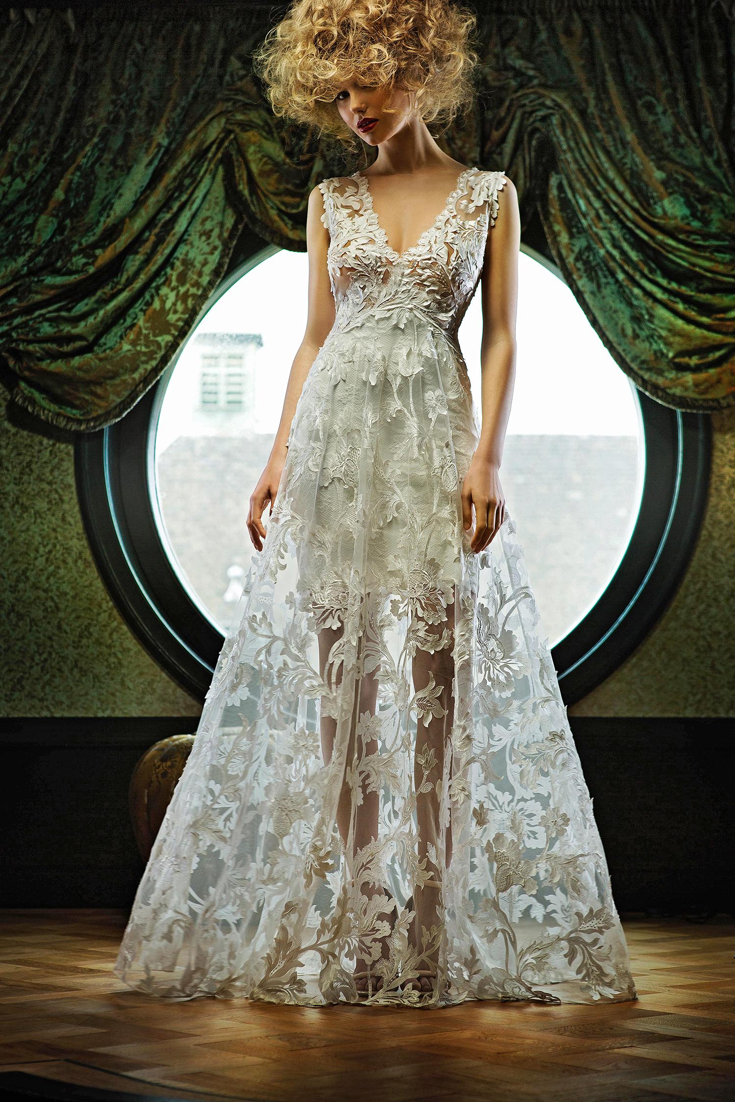 olvi wedding dress spring 2019 v-neck sheer lace a-line