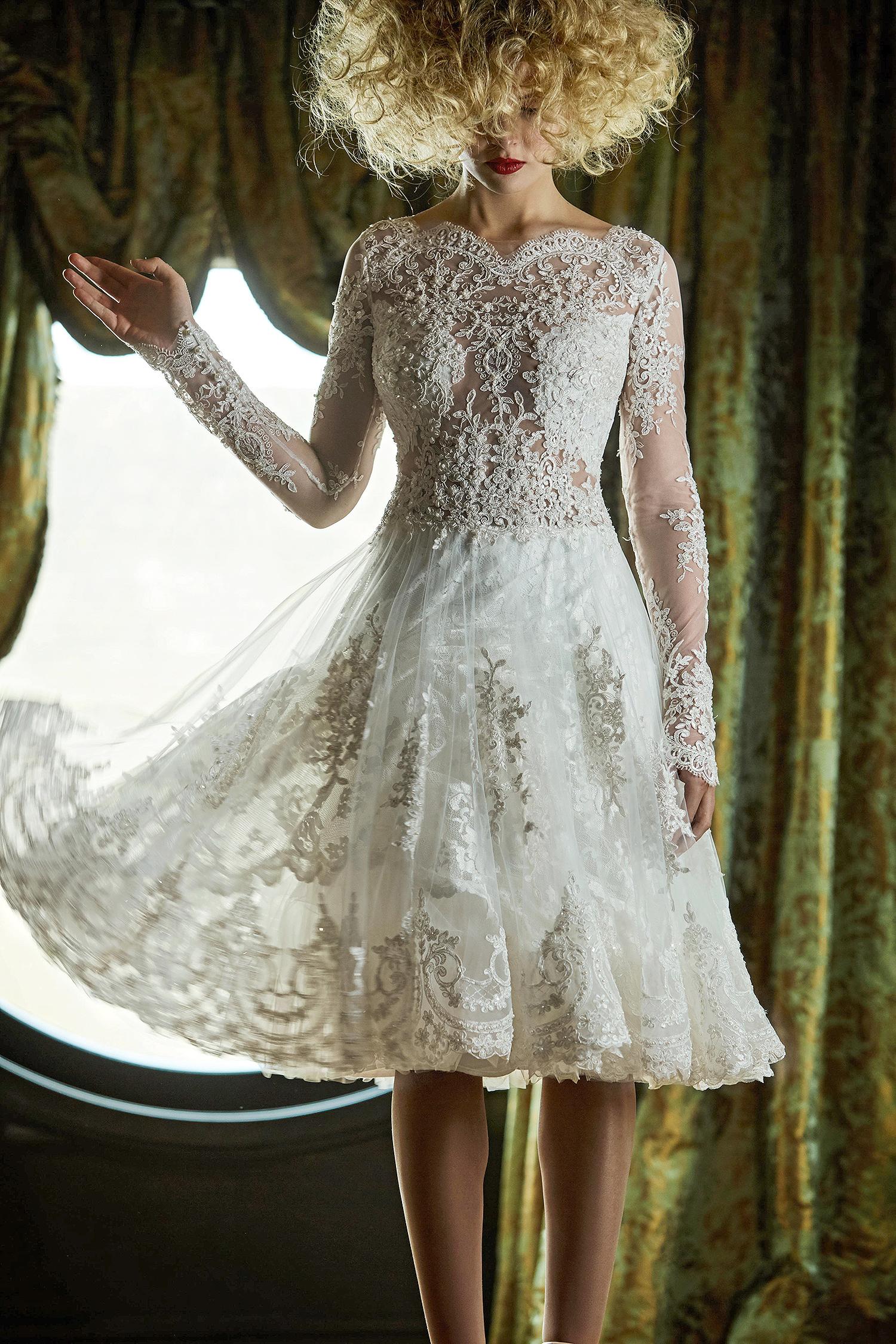 olvi wedding dress spring 2019 tea-length high neck long sleeves