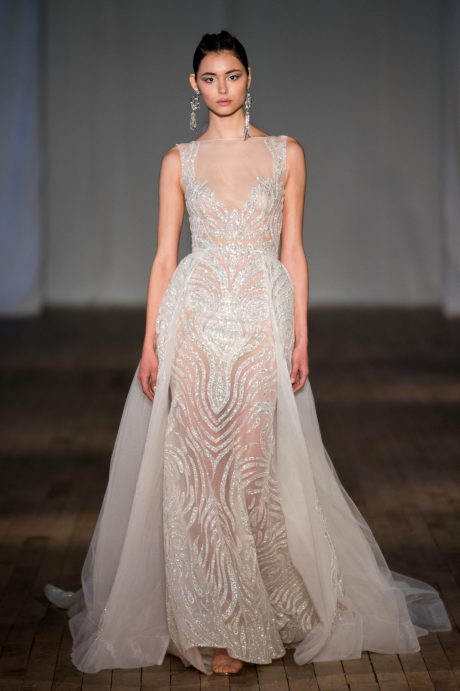 berta wedding dress spring 2019 crystal high-neck skirt panels
