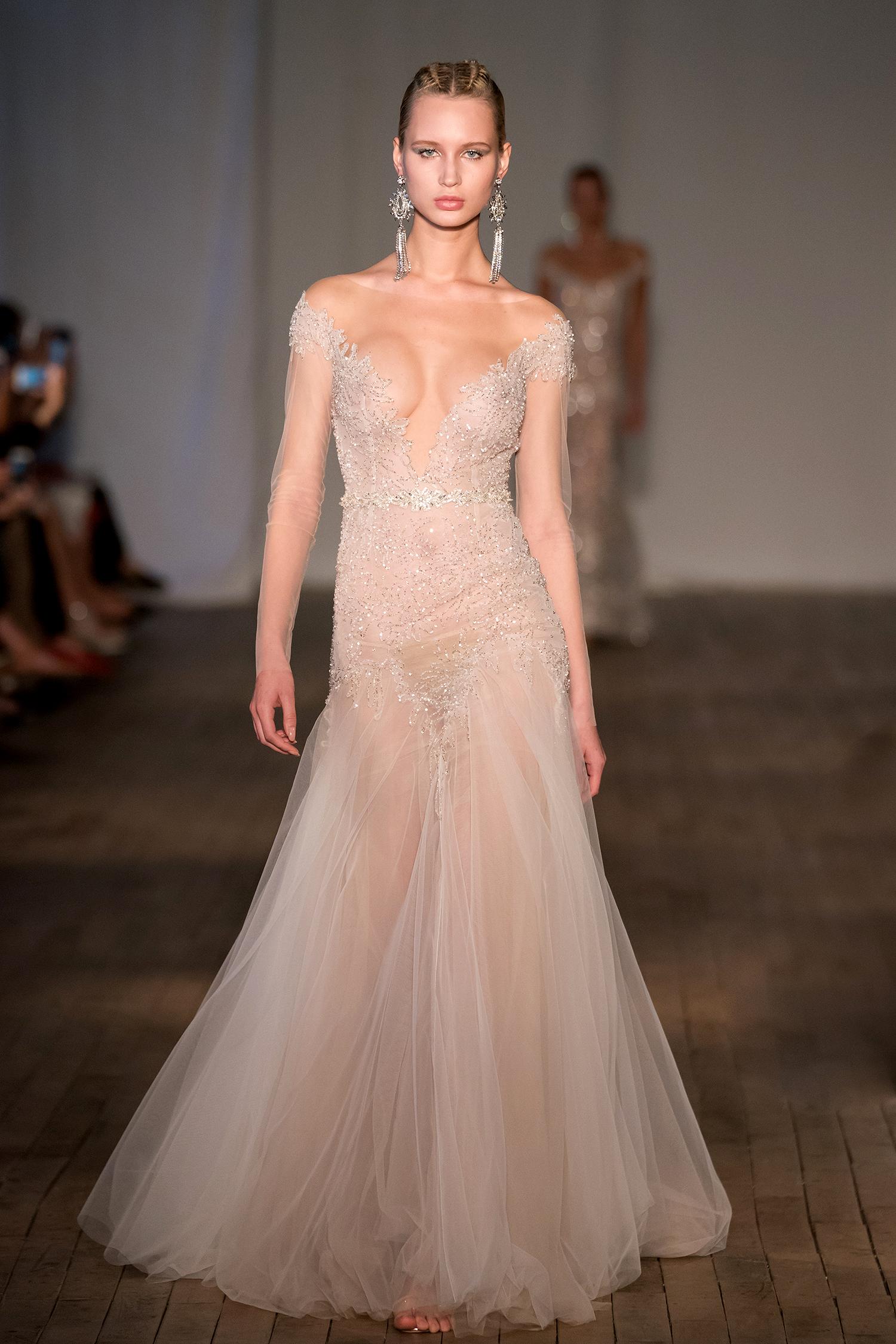 berta wedding dress spring 2019 sheer off-the-shoulder sleeves beadwork