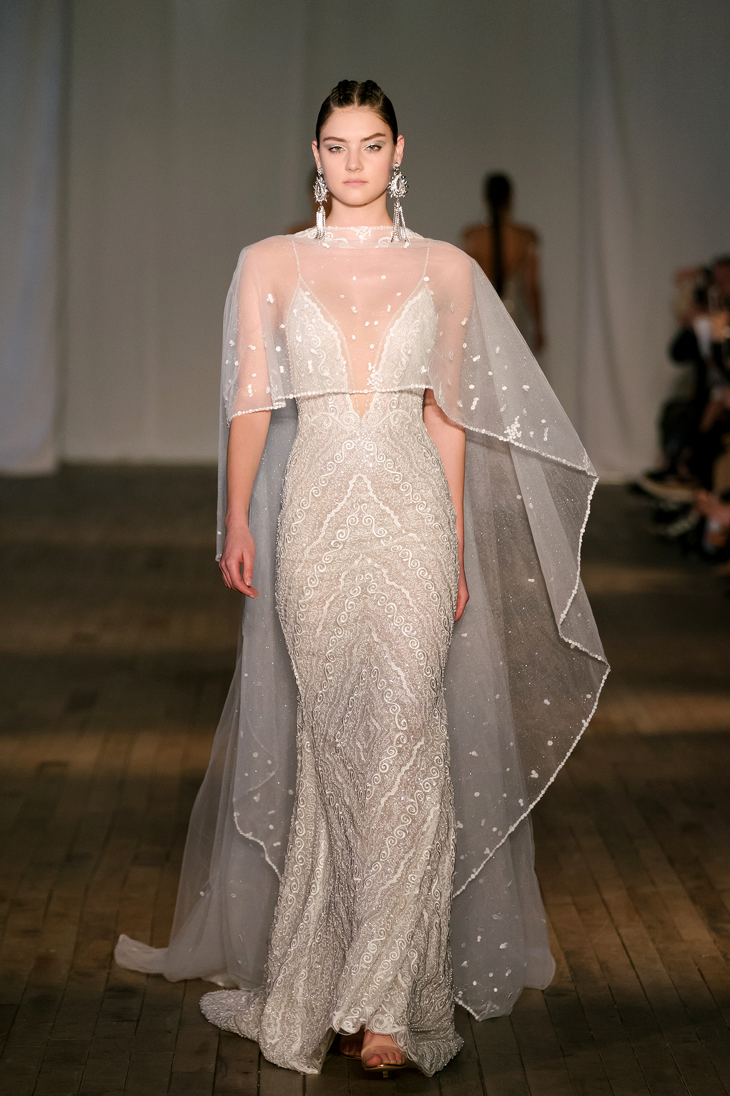 berta wedding dress spring 2019 spaghetti-strap plunging neck with cape