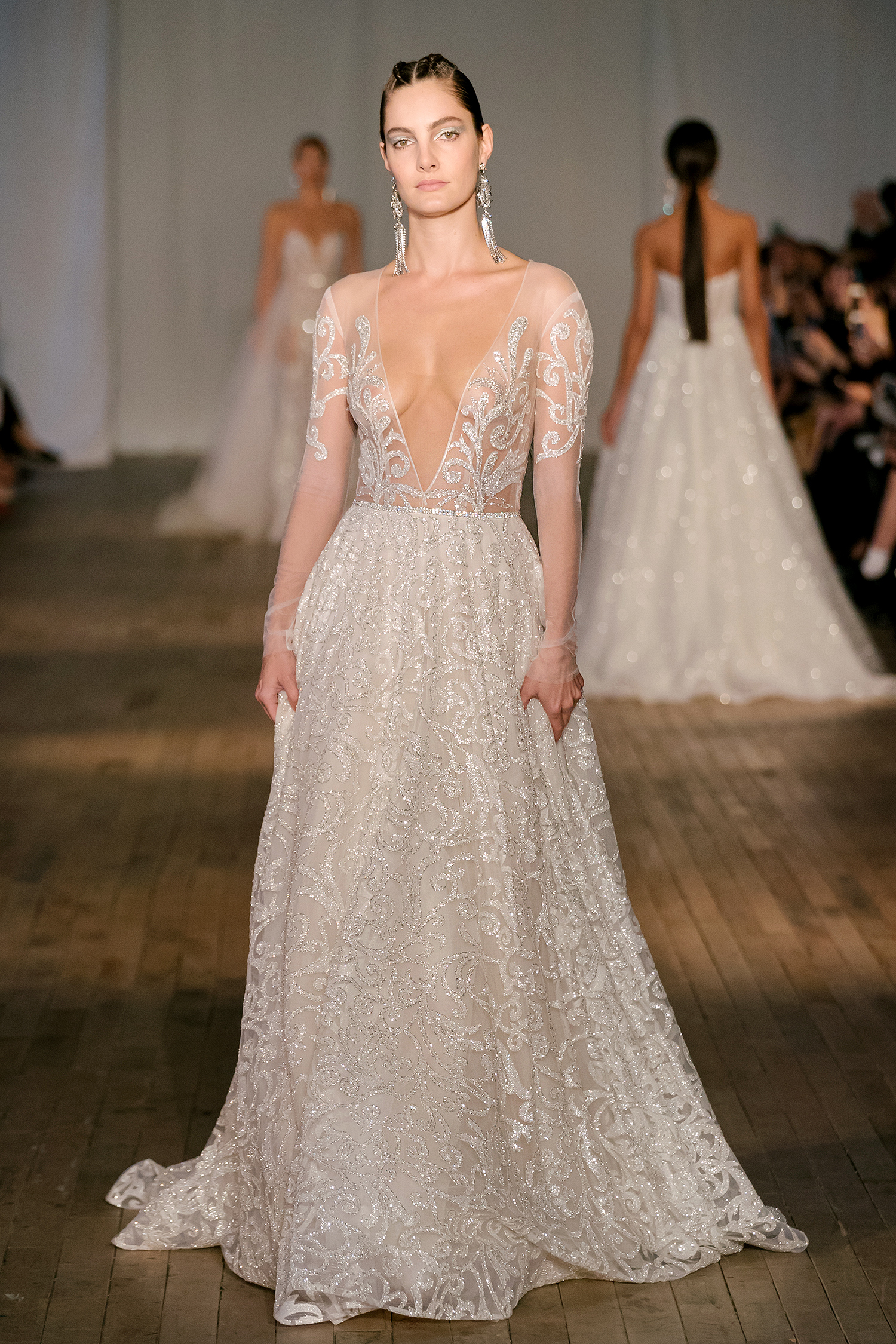 berta wedding dress spring 2019 plunging neck sheer sleeves a-line
