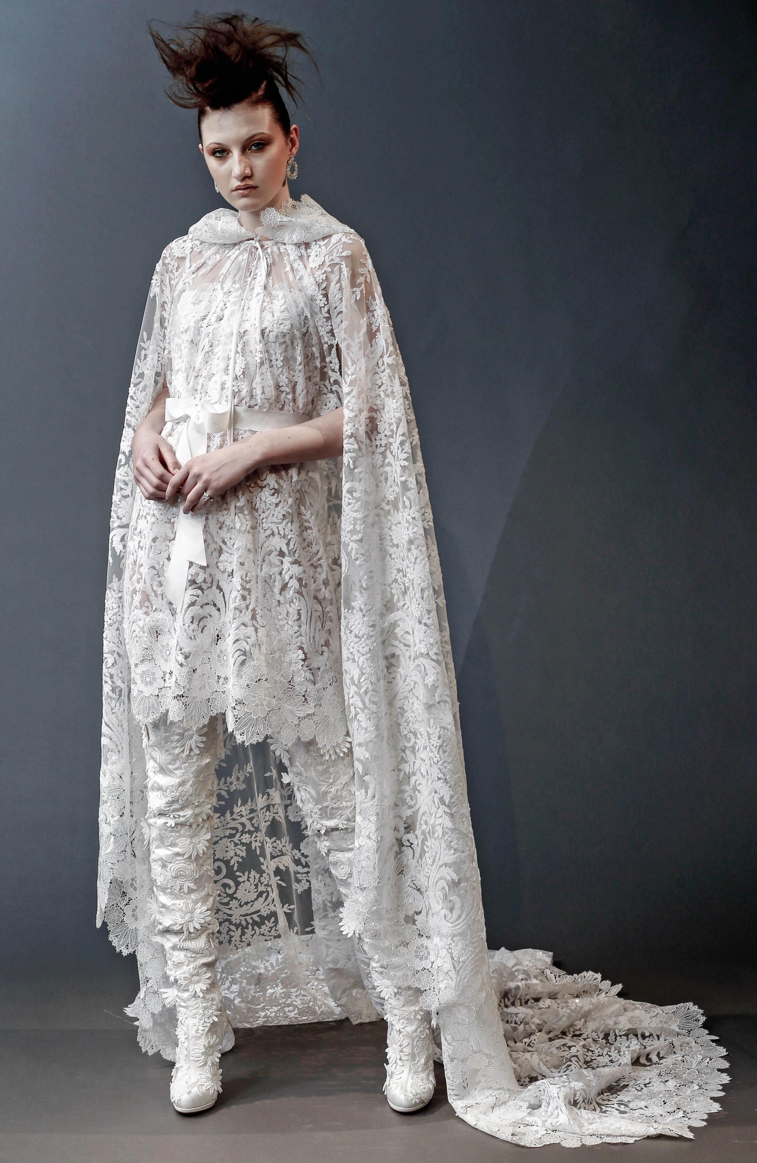 naeem khan long pants with cape wedding dress spring 2019