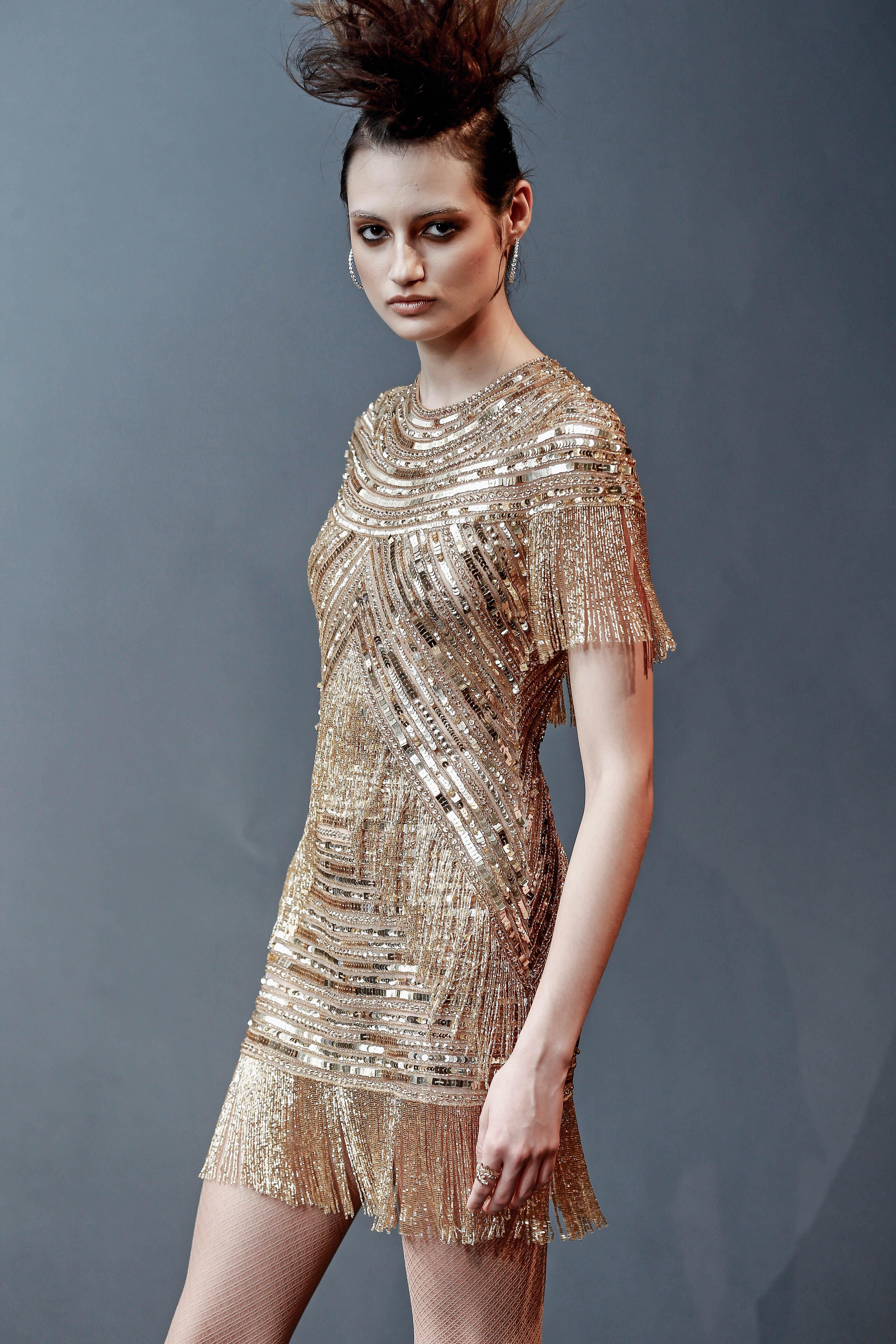 gold naeem khan short with fringe wedding dress spring 2019