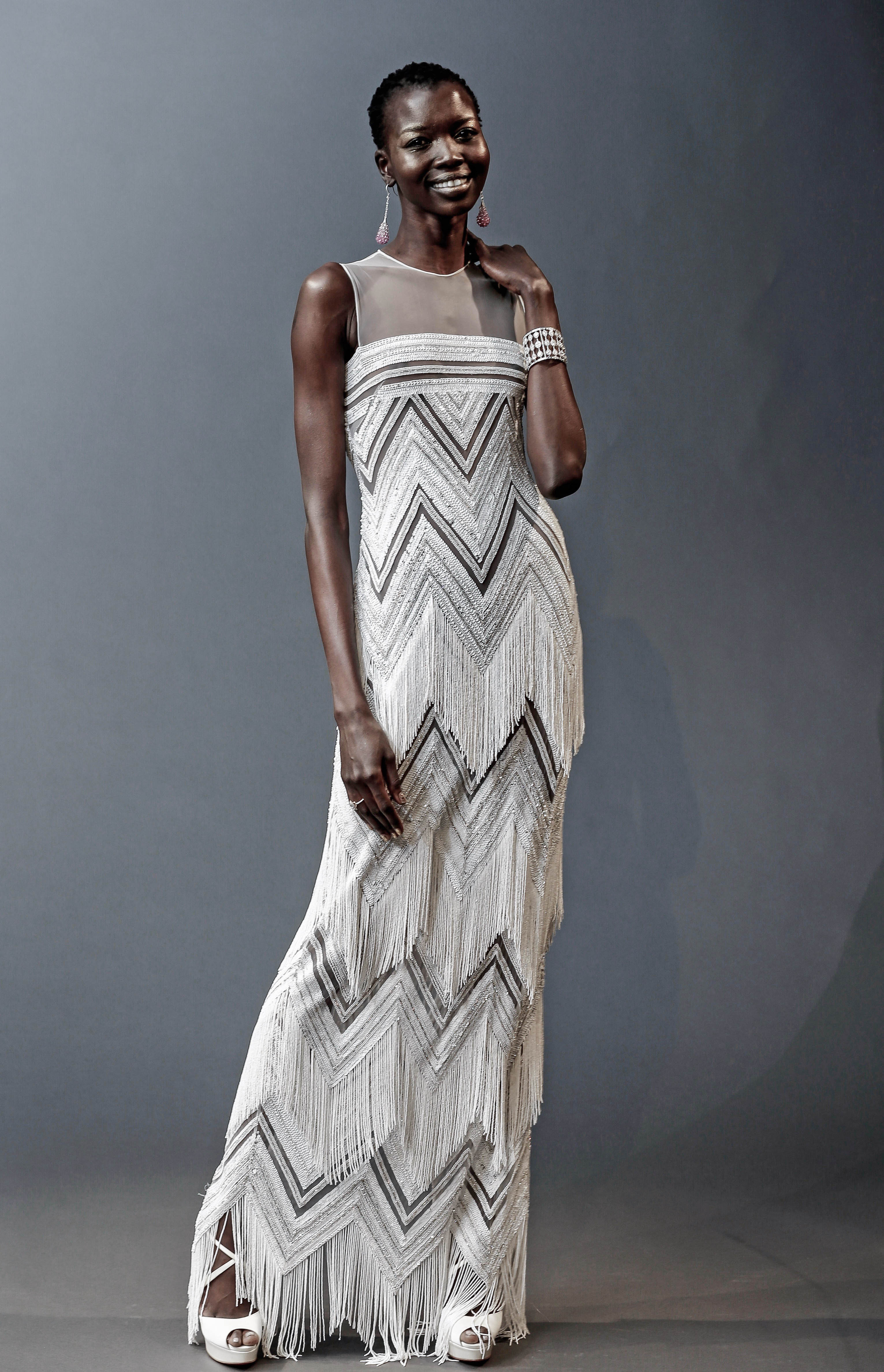naeem khan illusion sheath with fringe wedding dress spring 2019