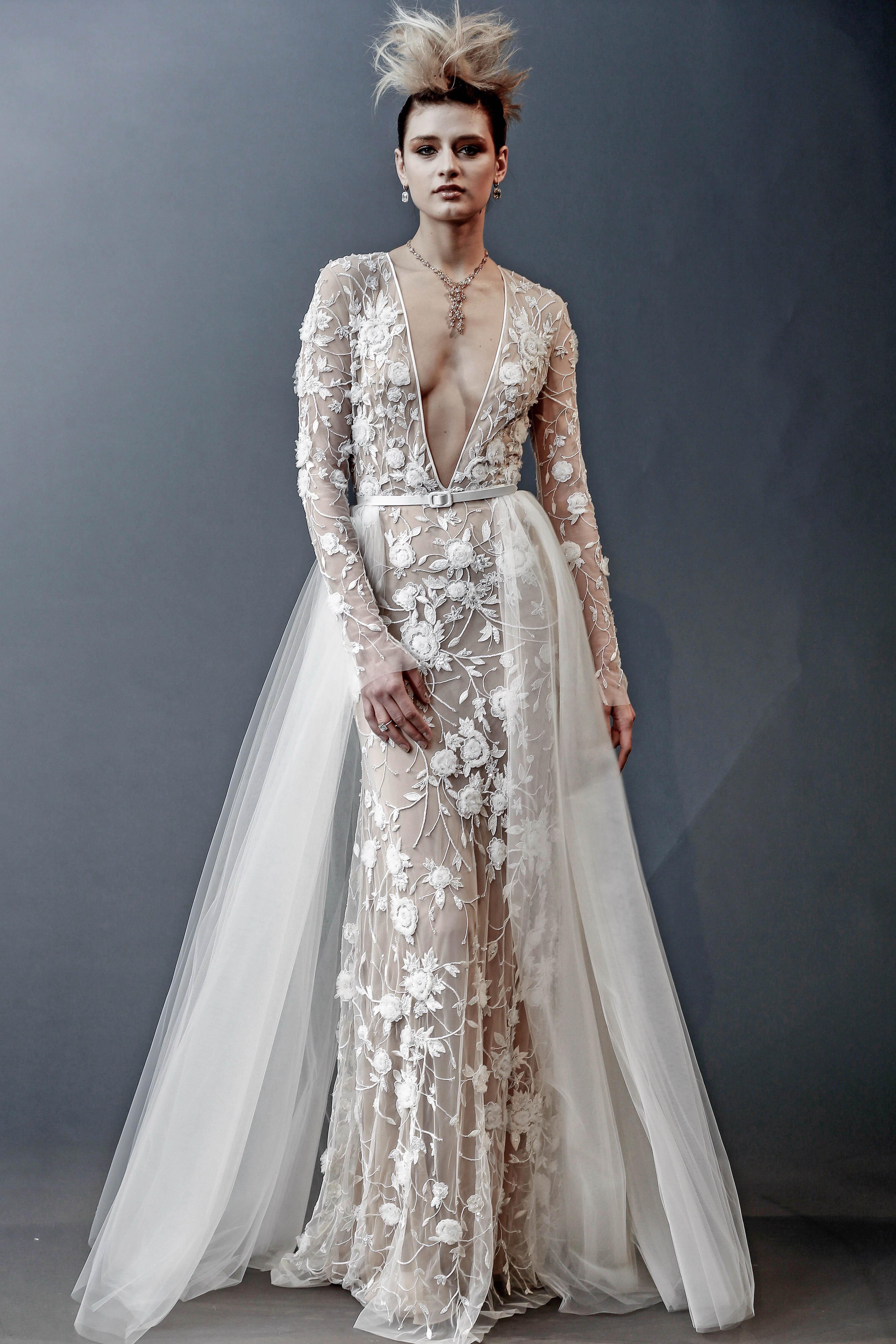 naeem khan long sleeves v-neck wedding dress spring 2019
