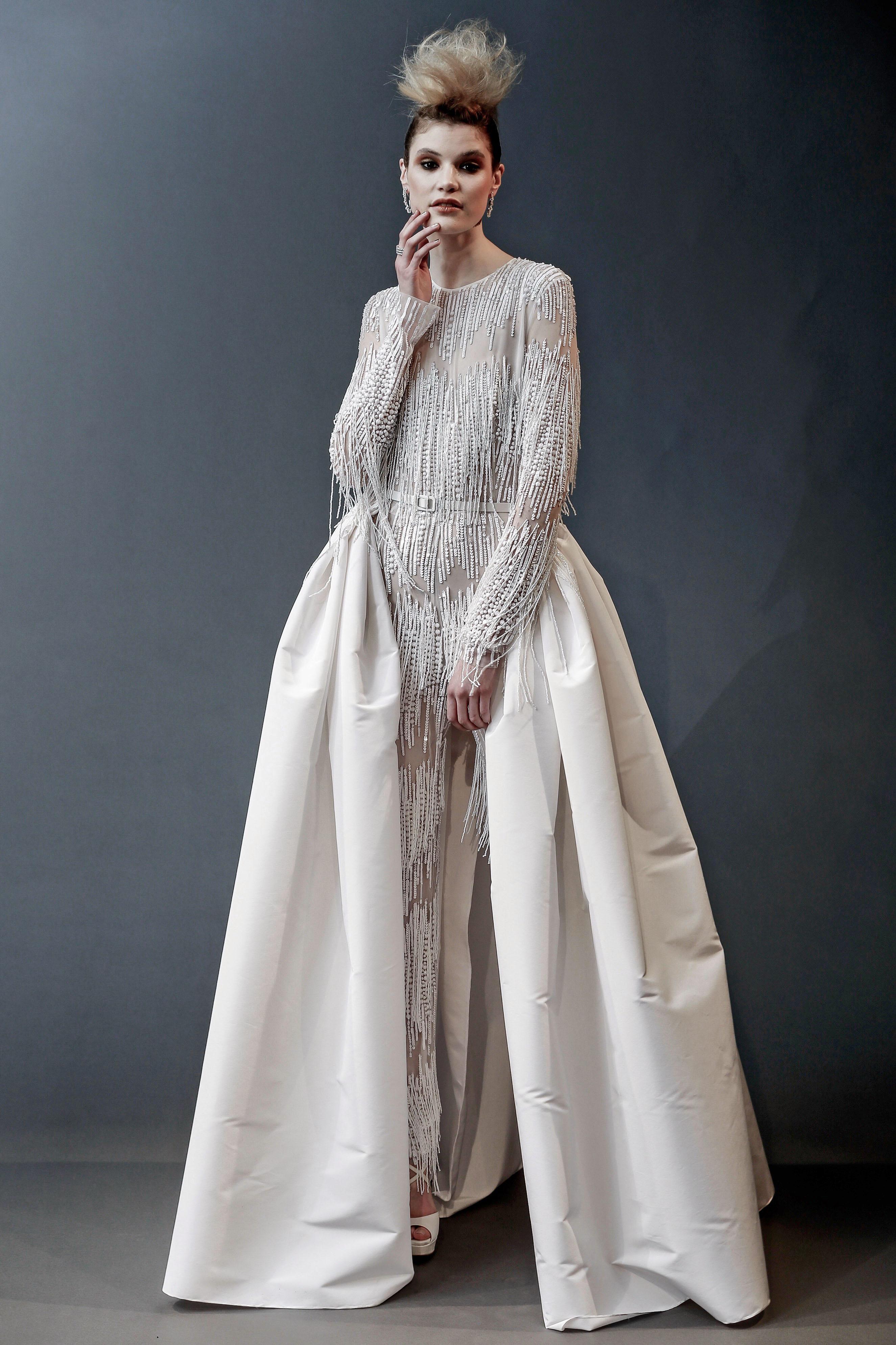 naeem khan beaded long sleeves with train wedding dress spring 2019