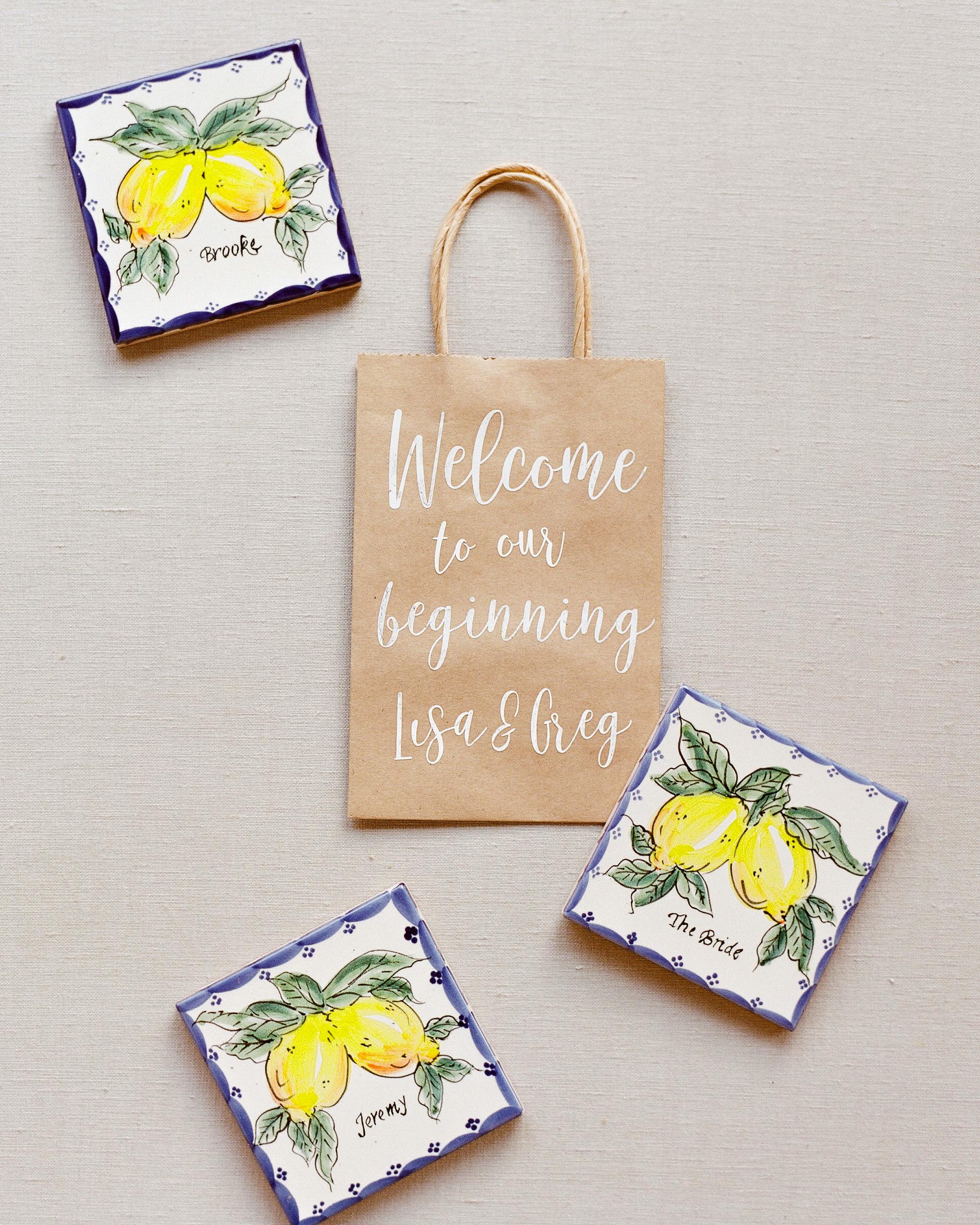 lisa greg italy wedding tiles favors