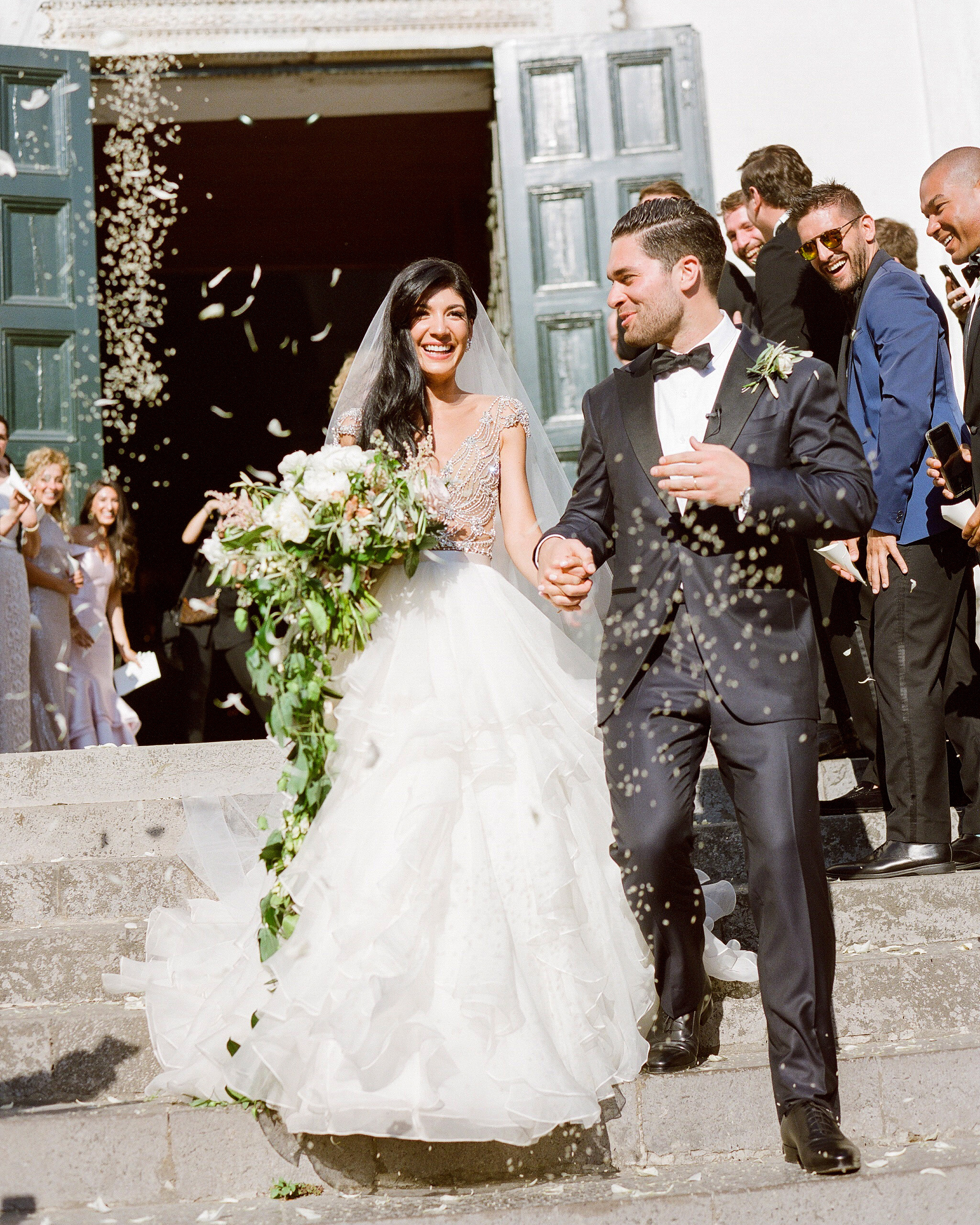 lisa greg italy wedding recessional church couple