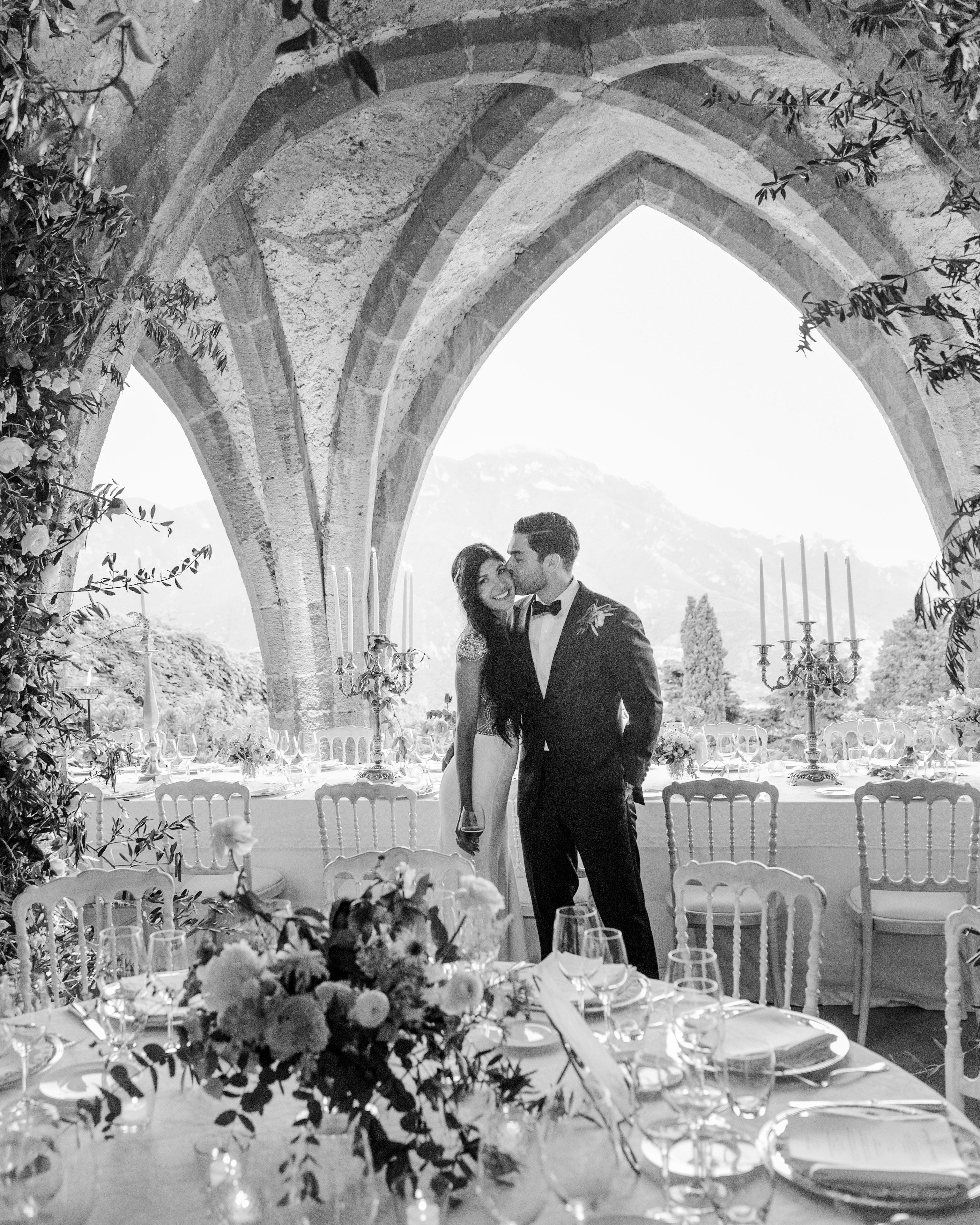 lisa greg italy wedding couple reception black and white