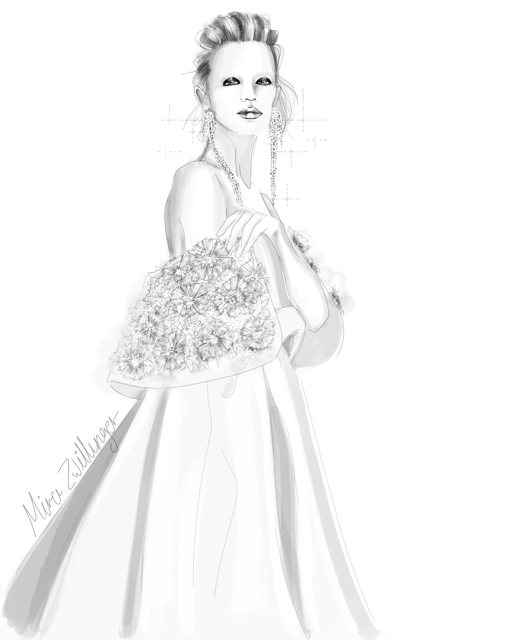 mira zwillinger wedding dress sketch