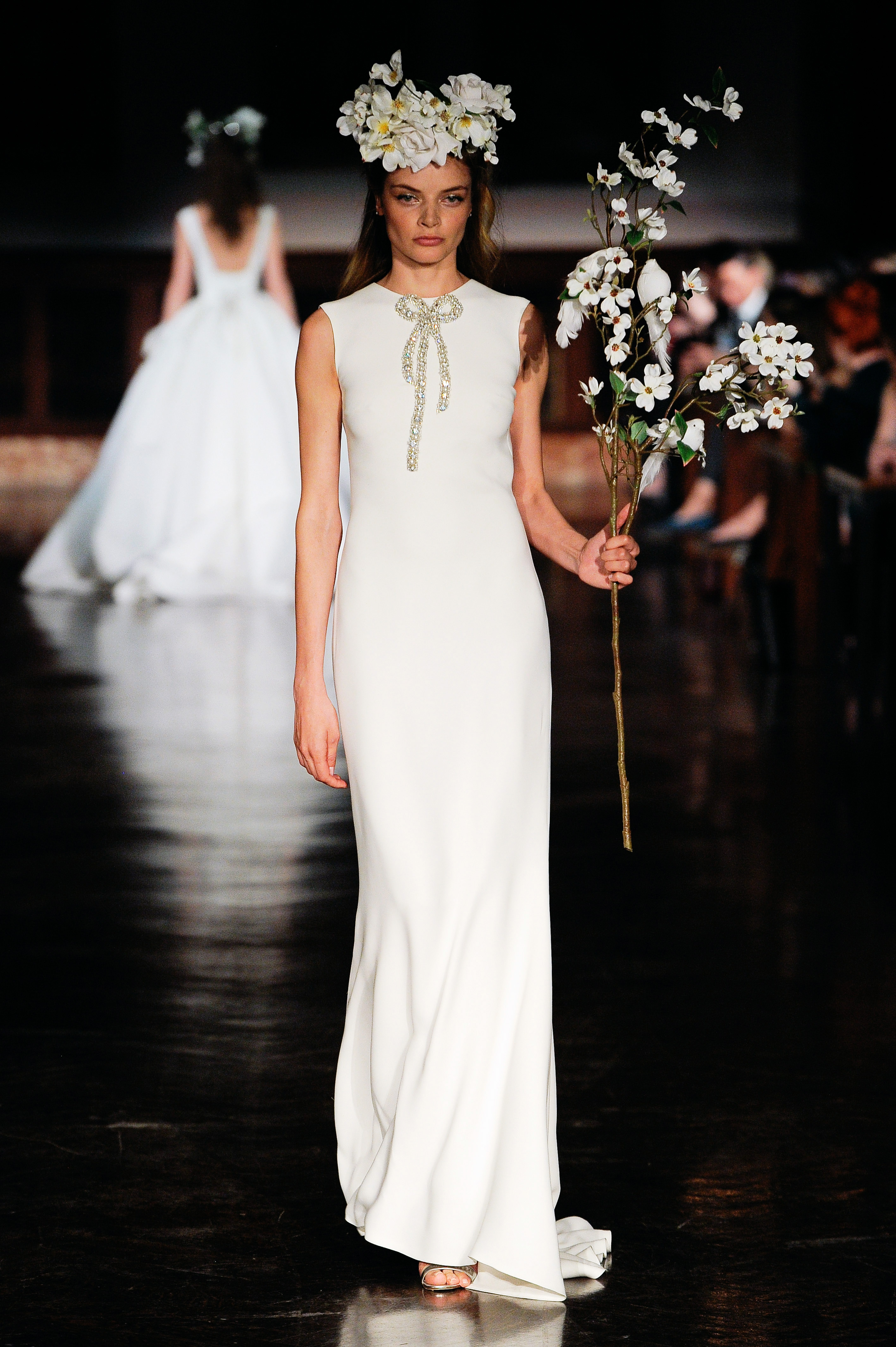 reem acra wedding dress spring 2019 sheath high neck