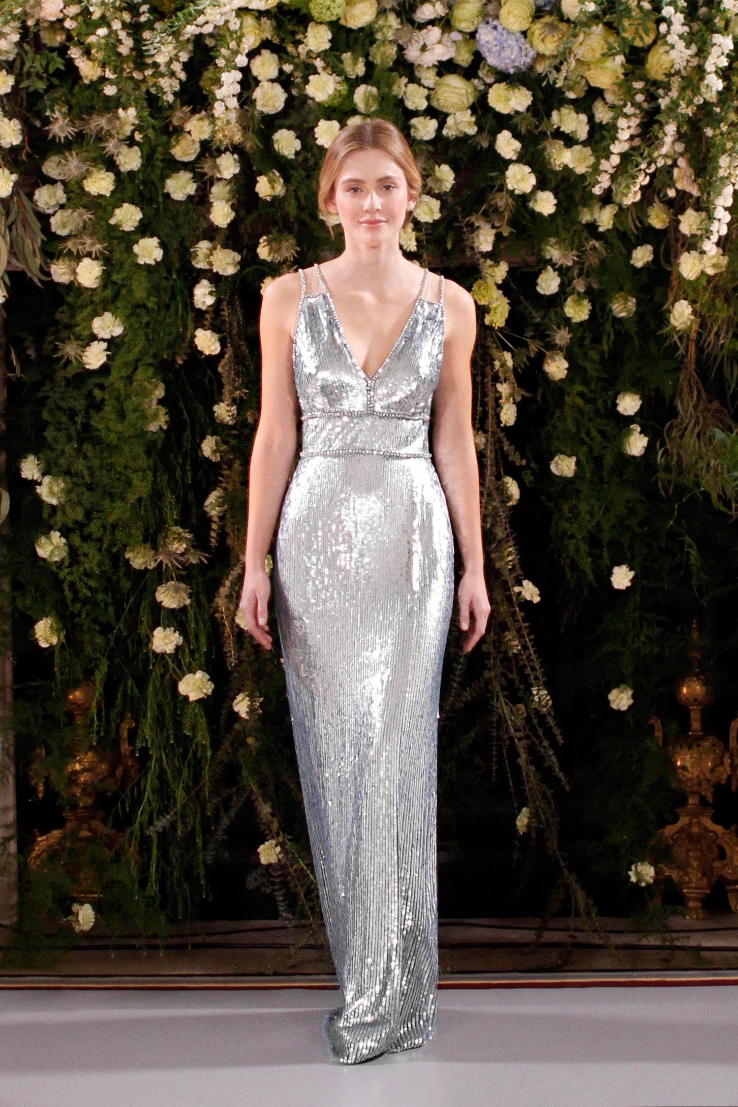 jenny packham wedding dress spring 2019 silver v-neck with sequins