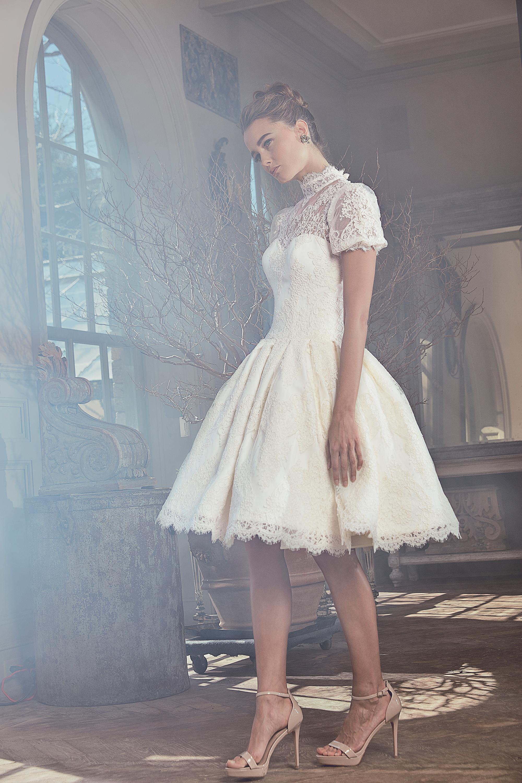 sareh nouri wedding dress spring 2019 short ballgown with high neck