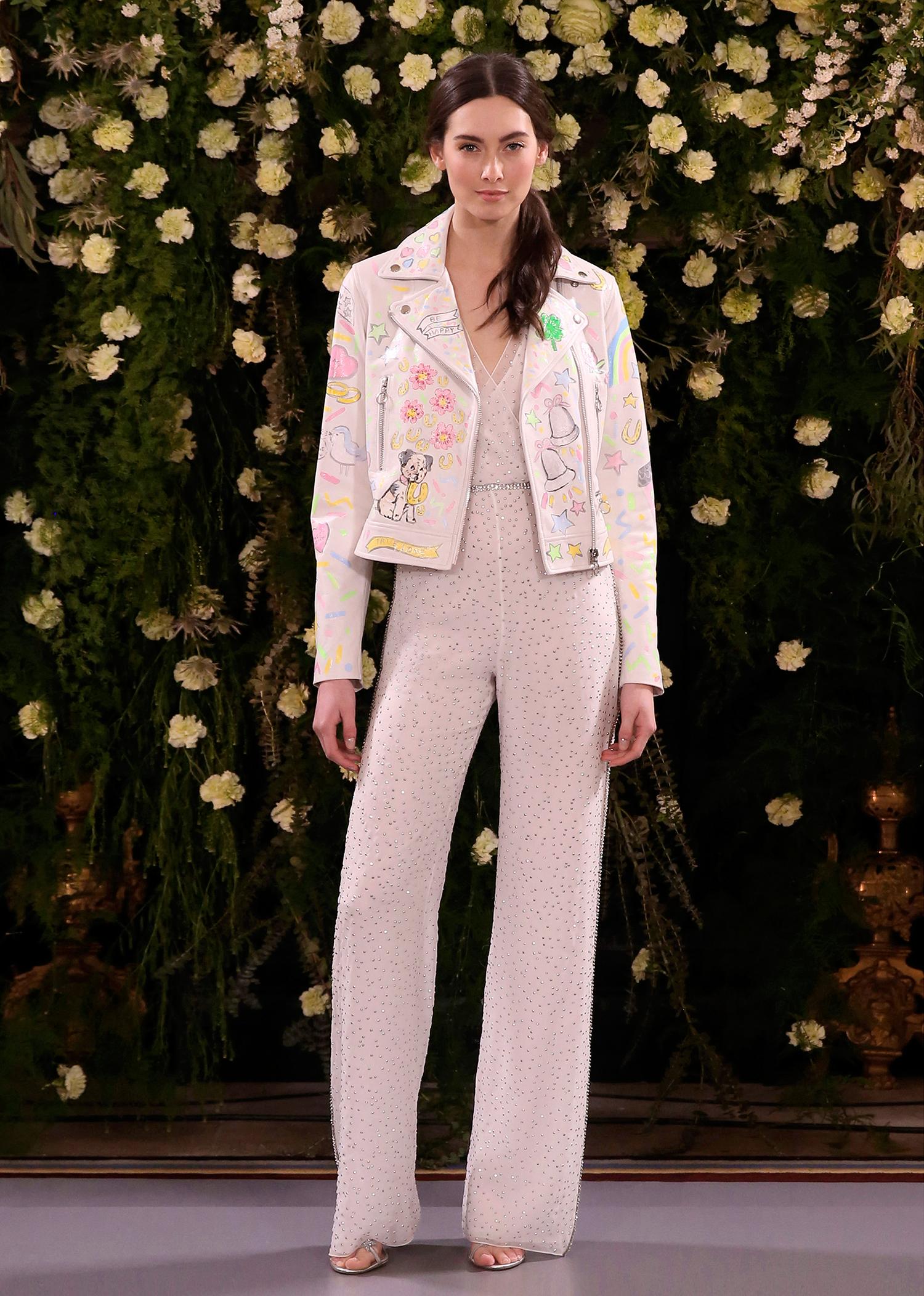 jenny packham wedding dress spring 2019 jumpsuit with embellished jacket