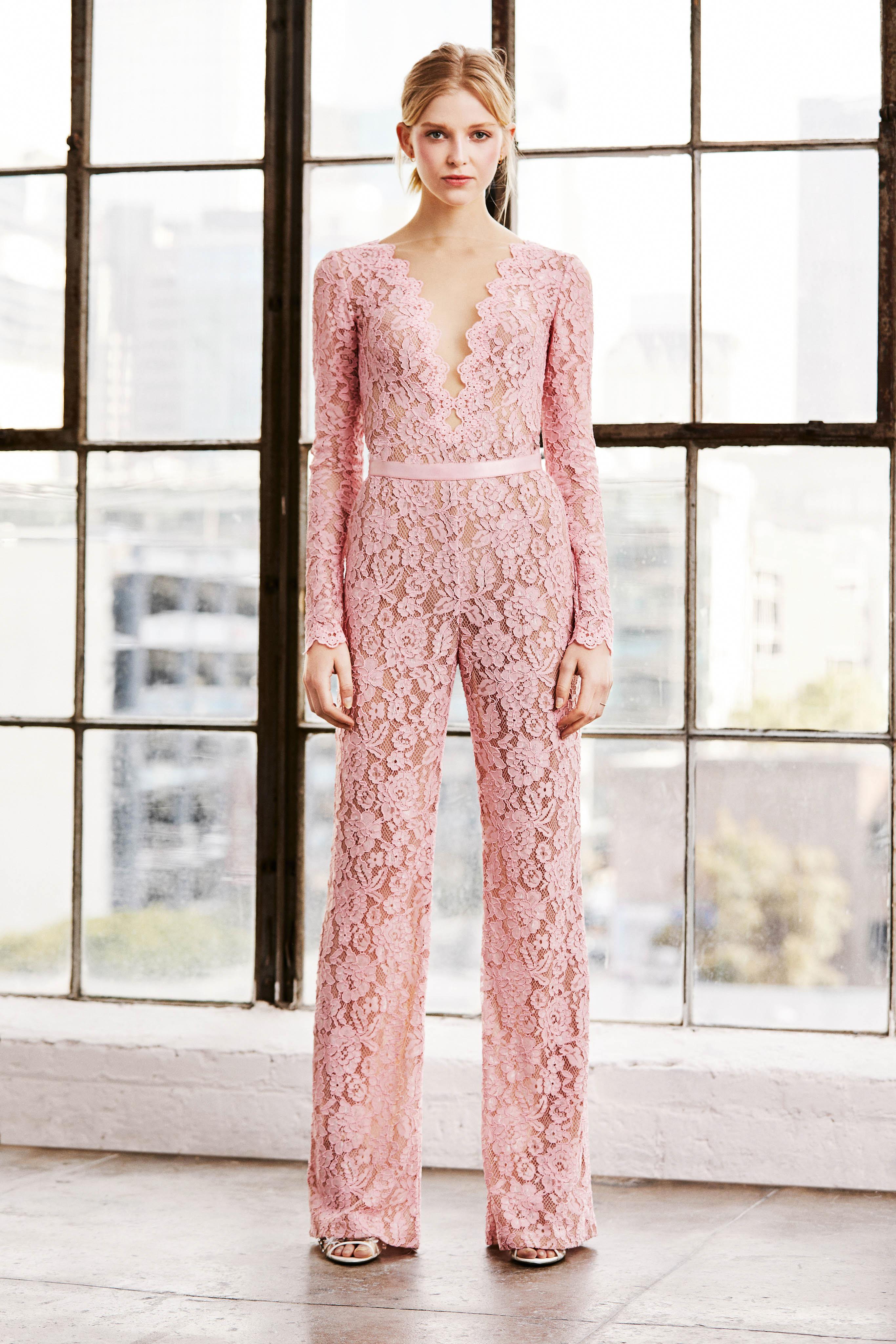 tadashi shoji wedding dress spring 2019 pink lace jumpsuit pants long sleeves