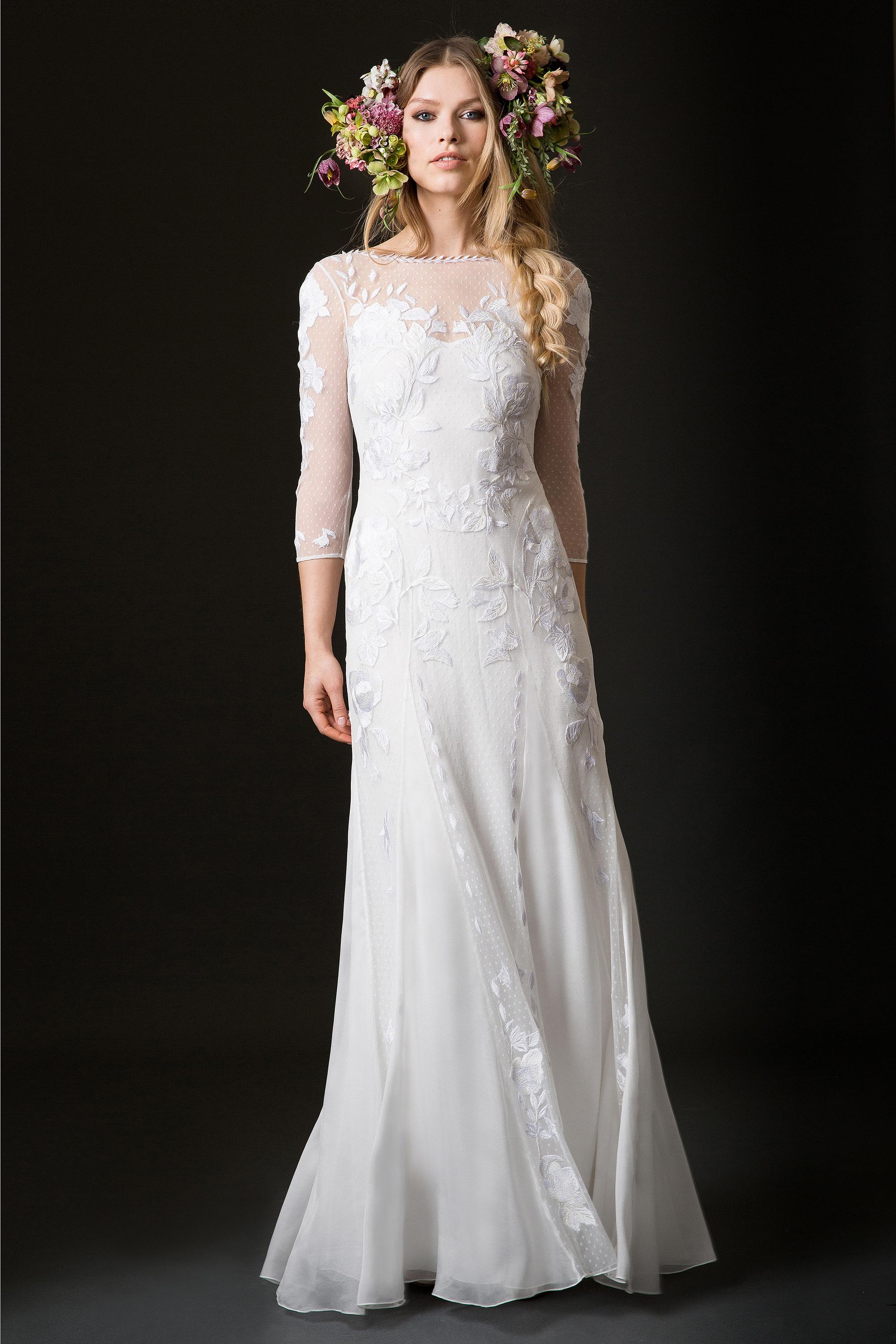 temperley wedding dress spring 2019 high neck sheath with three-quarter length sleeves