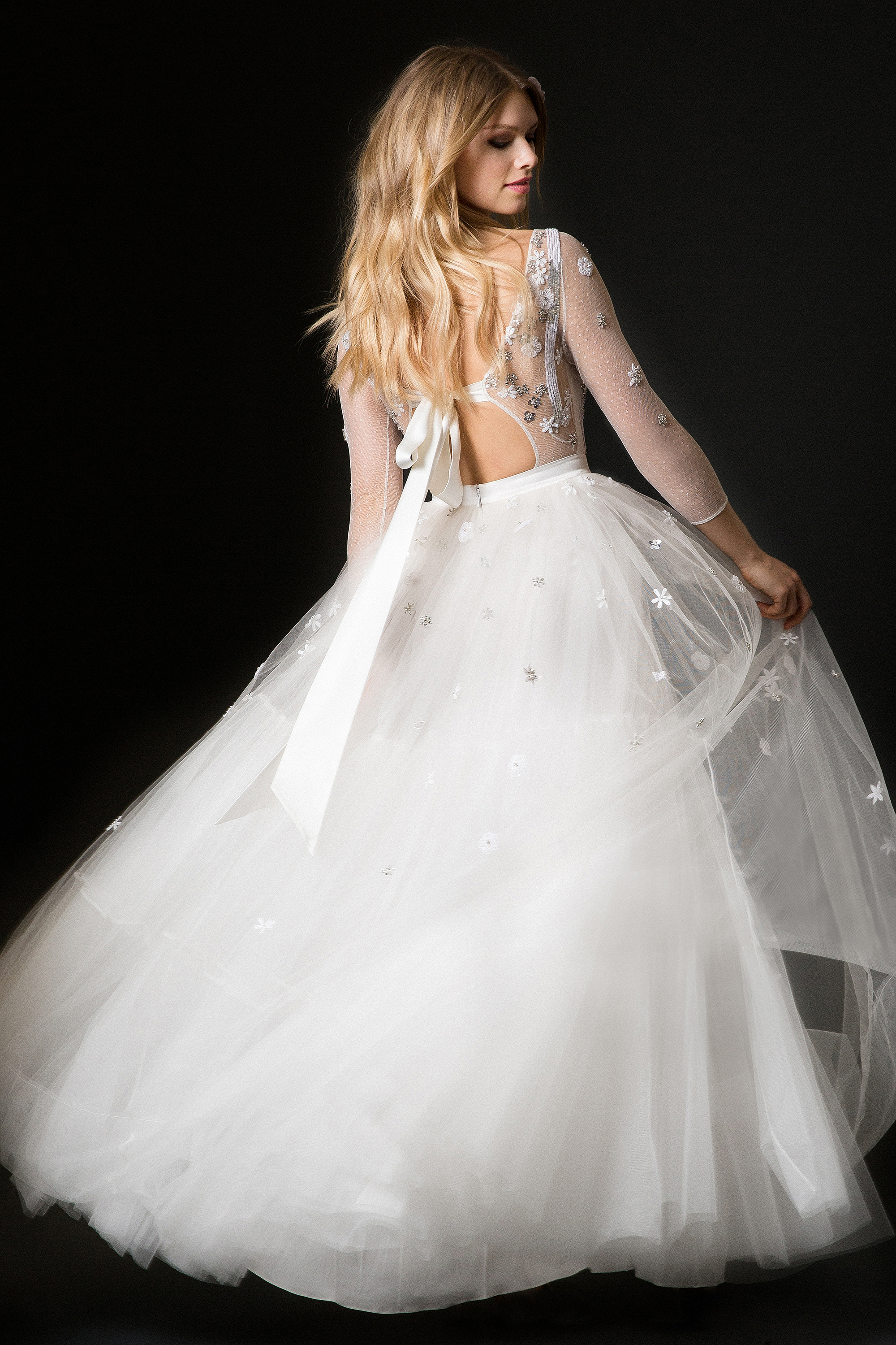 temperley wedding dress spring 2019 ballgown with three-quarter length sleeves and open back with tie