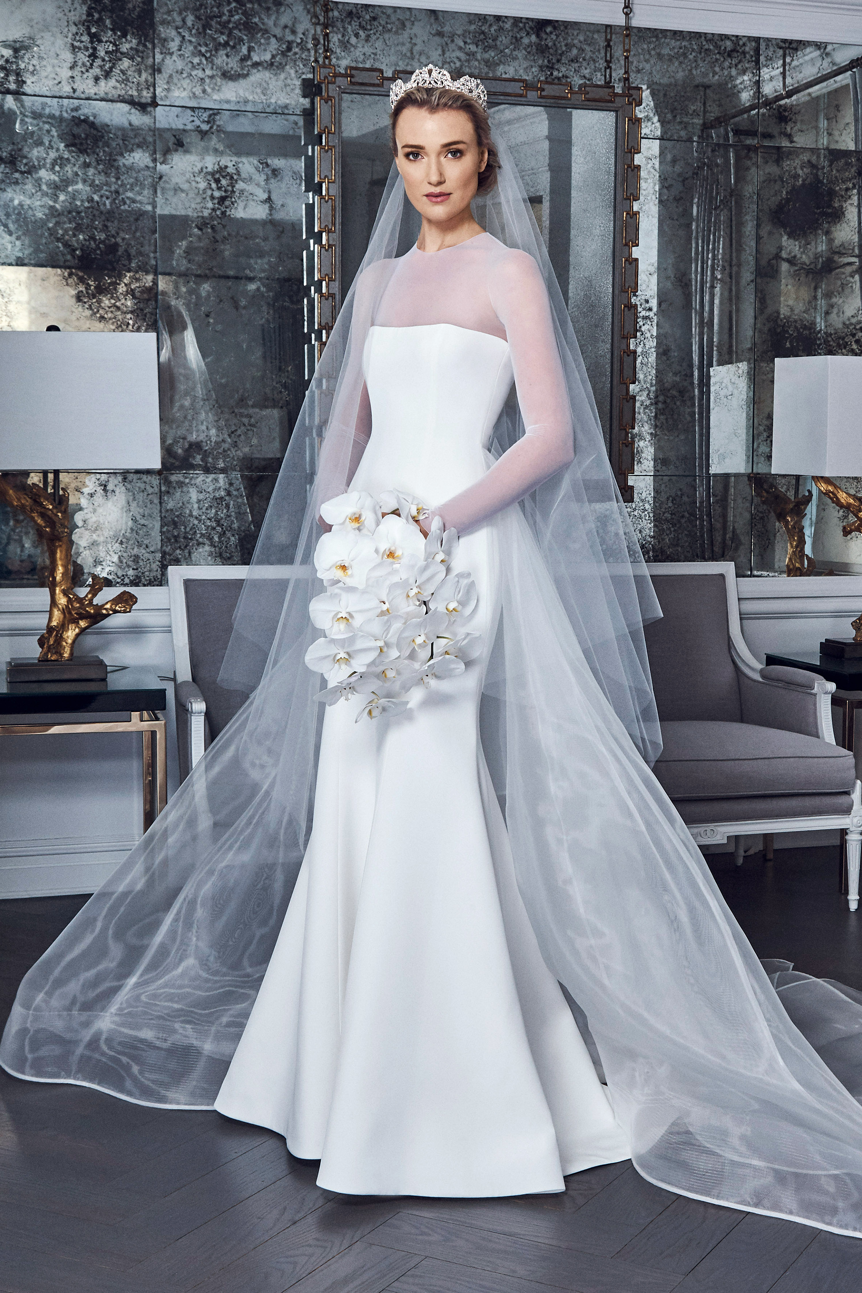 romona keveza collection wedding dress spring 2019 long sleeves illusion
